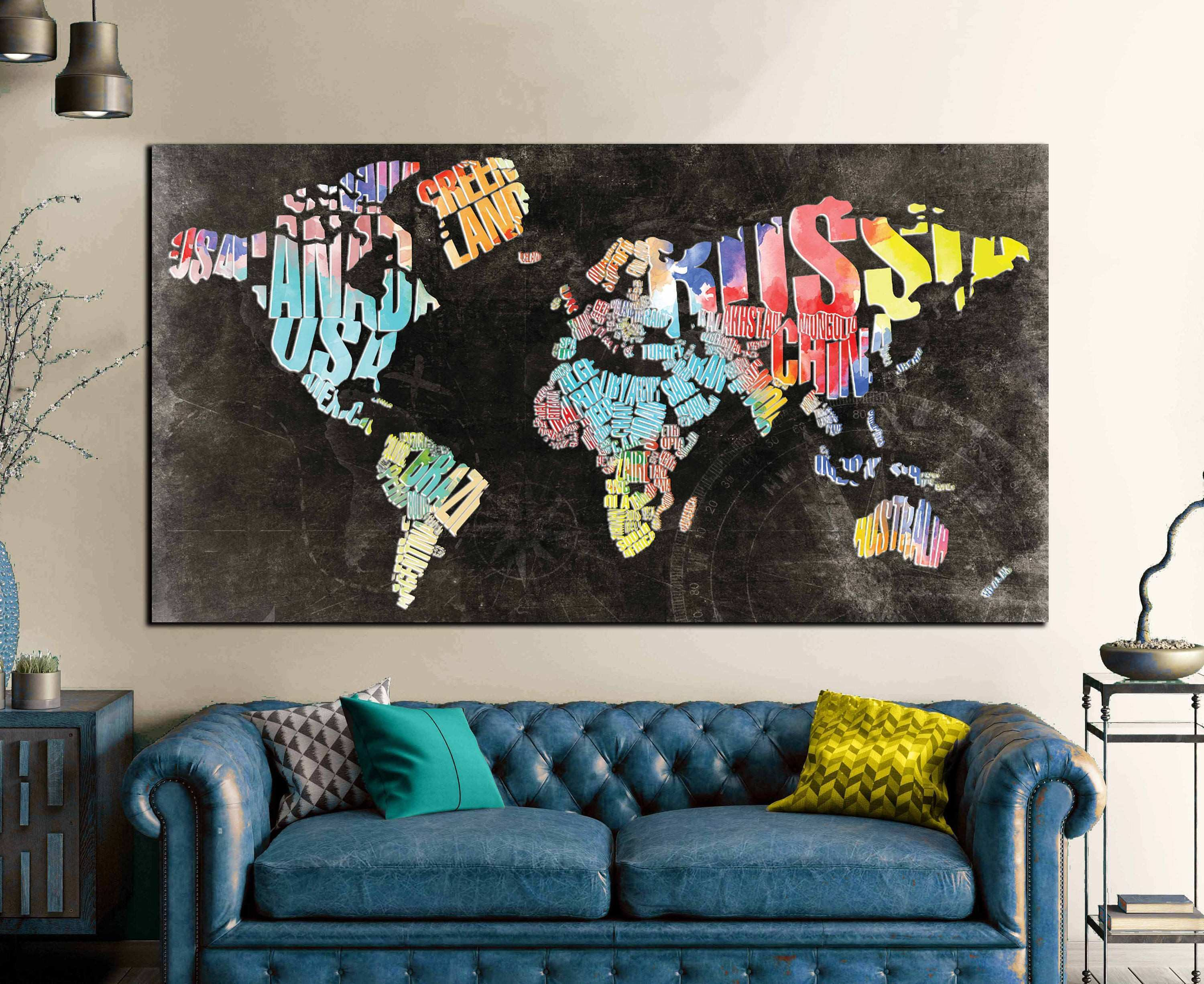Typographic World Text Map World Map Abstract Wall Art Canvas Print