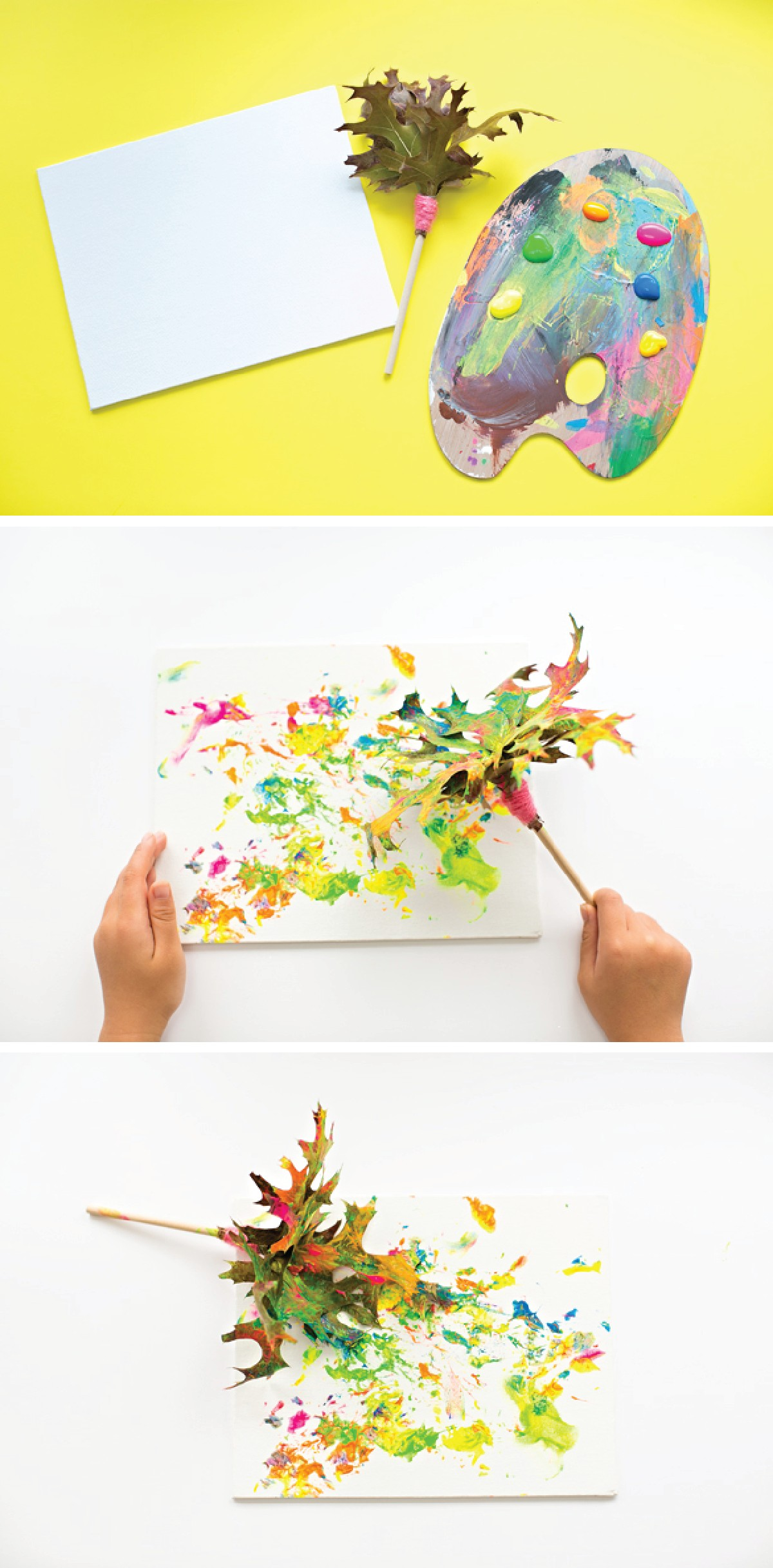 MAKE A FALL LEAVES PAINTBRUSH EASY KIDS ART PROJECT
