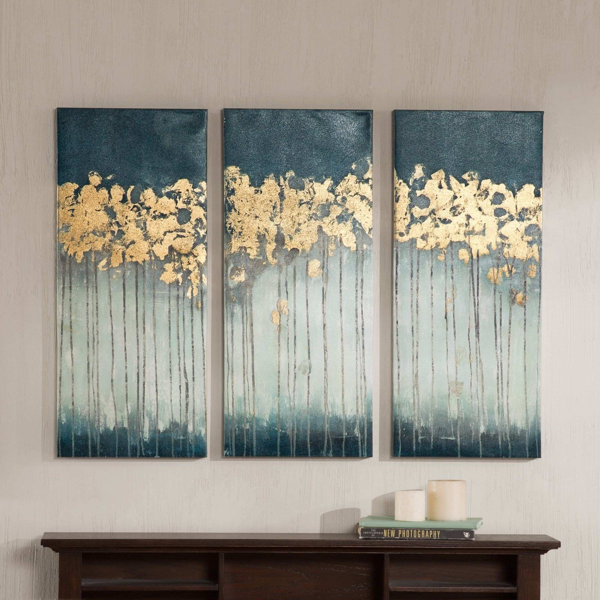 Wall art for grey walls & GICLEE PRINT Grey Gold Abstract Painting
