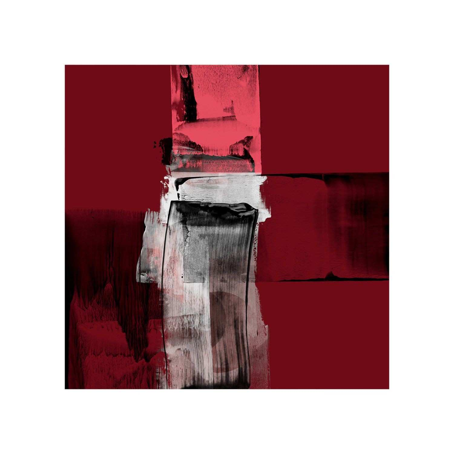 Maroon Colour Contemporary Art Print Expressive Style Abstract Art