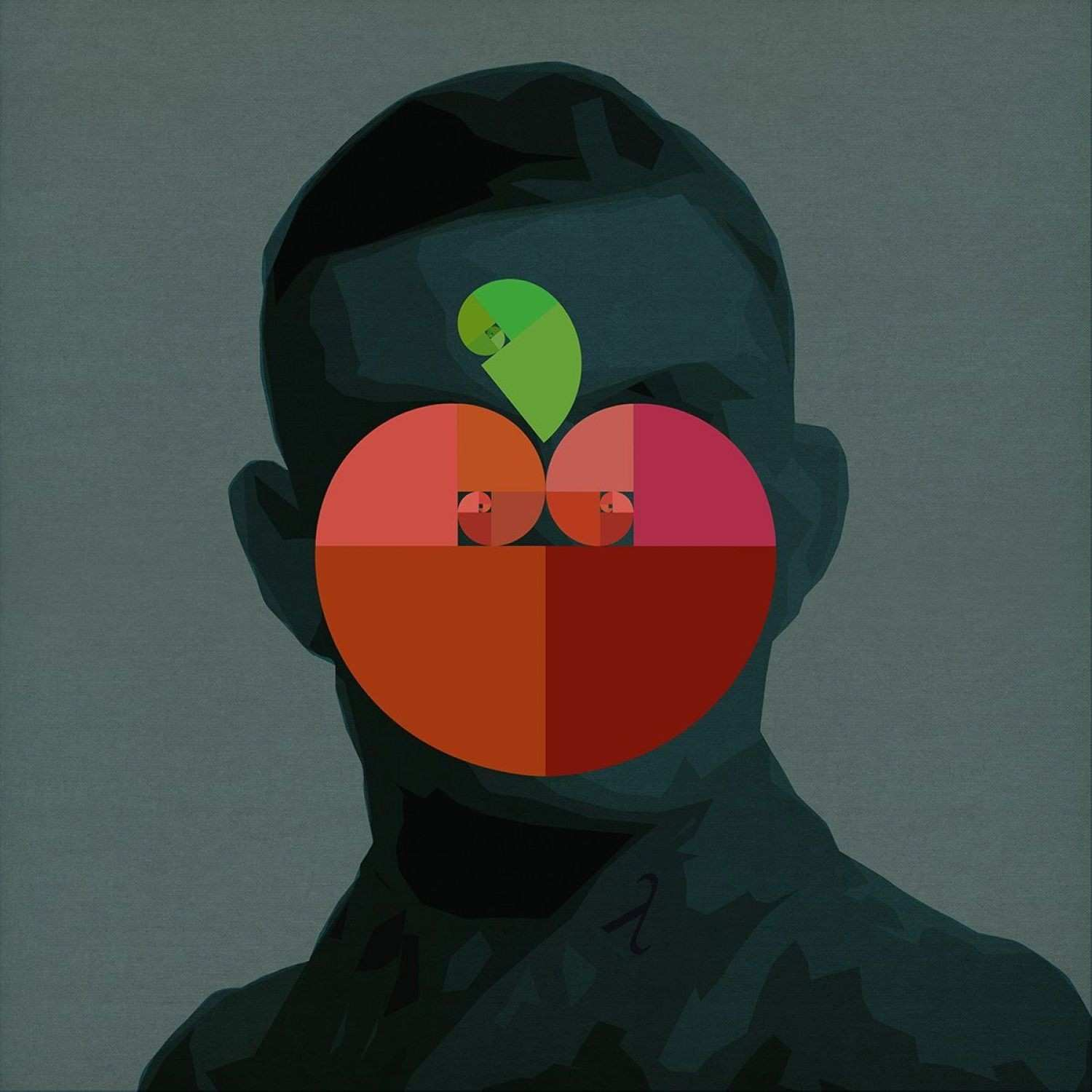 Fibonacci Pop Apple Alan Turing Portrait 2017 Digital Art