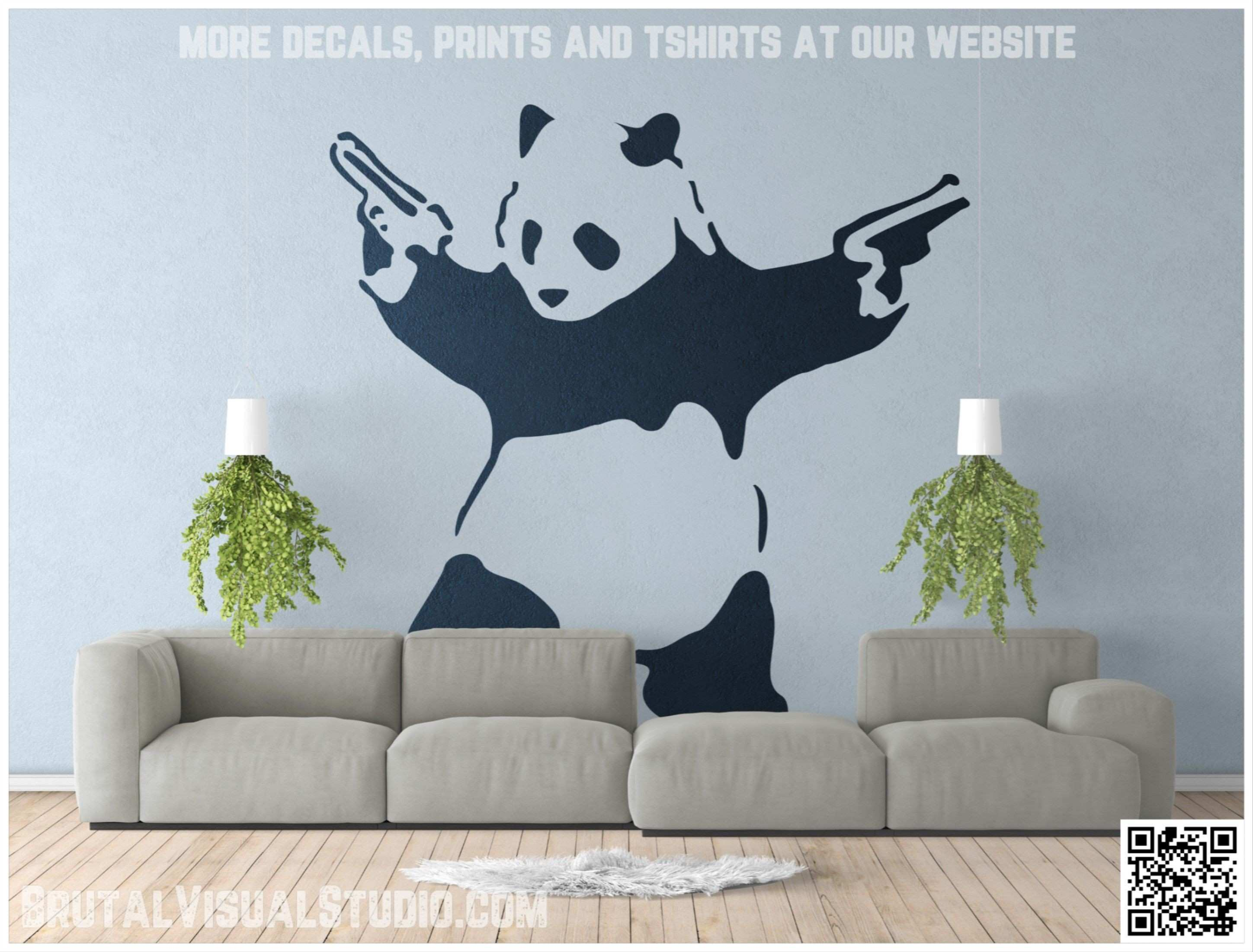 This image is about Banksy style bad pand with guns You can