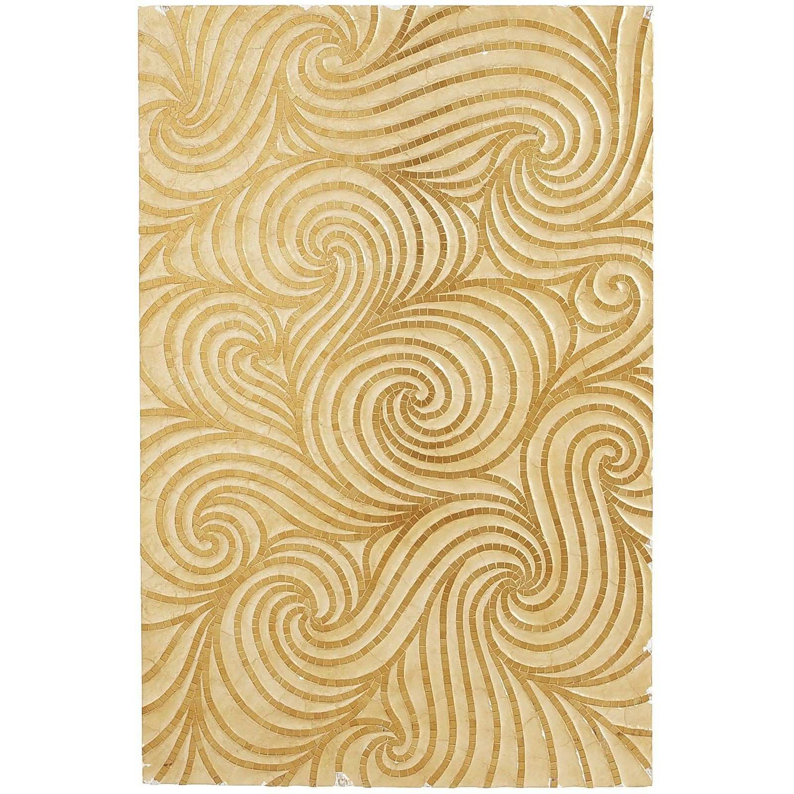 Golden swirls wall panel with wood shell & glass $250