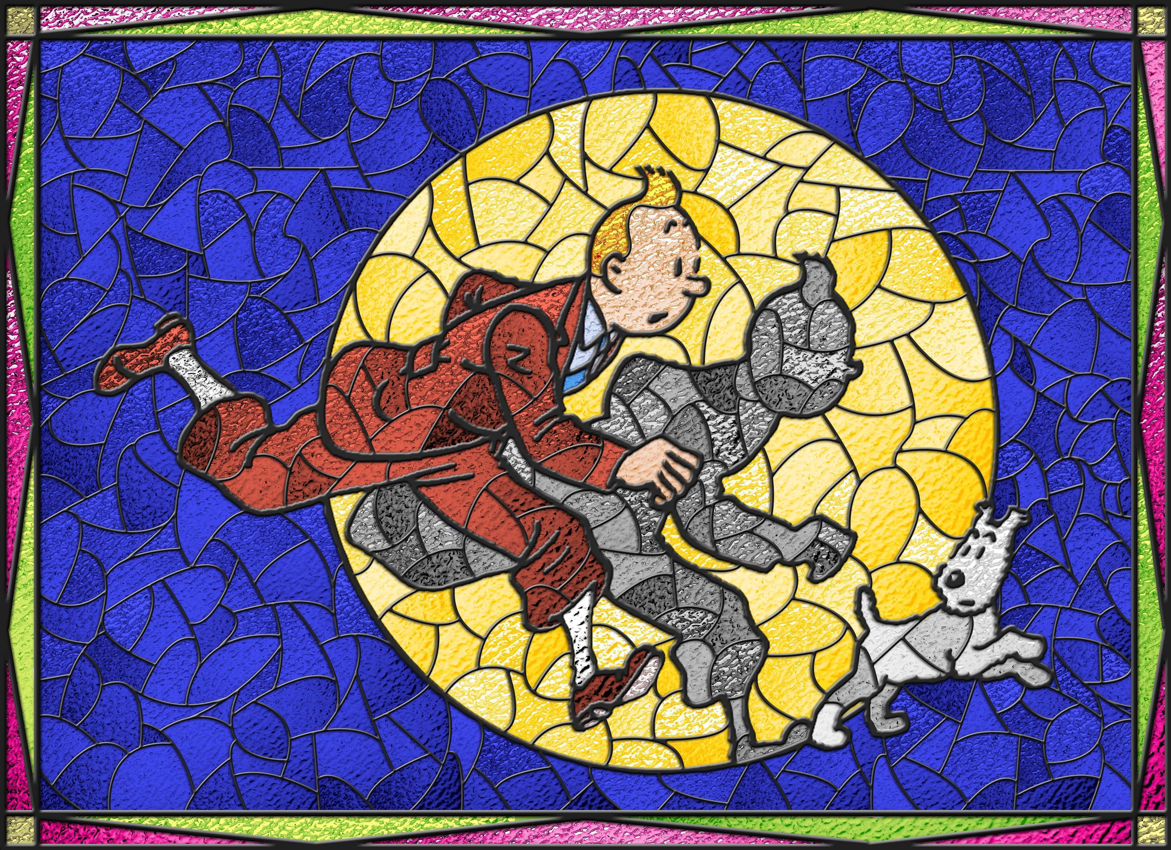 Tintin Snowy Stained Glass by Suedetess on DeviantArt