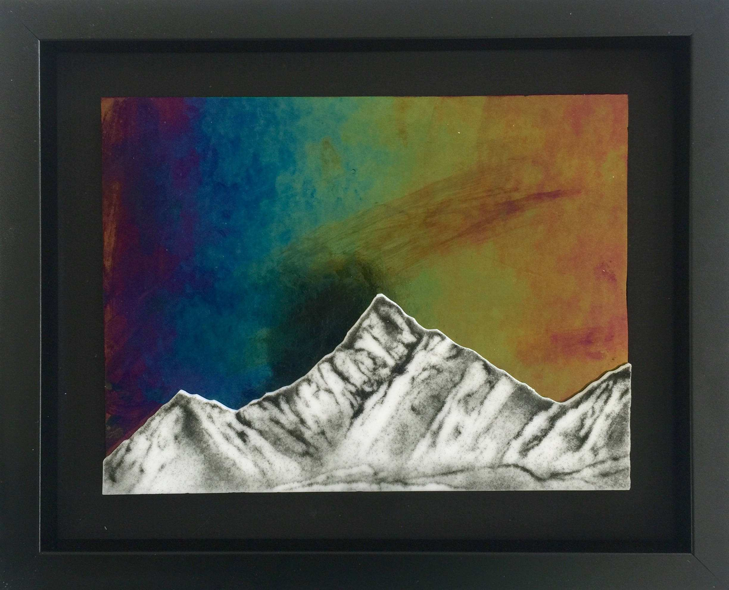 Wall art glass handmade mountains fused glass wall panel Fused