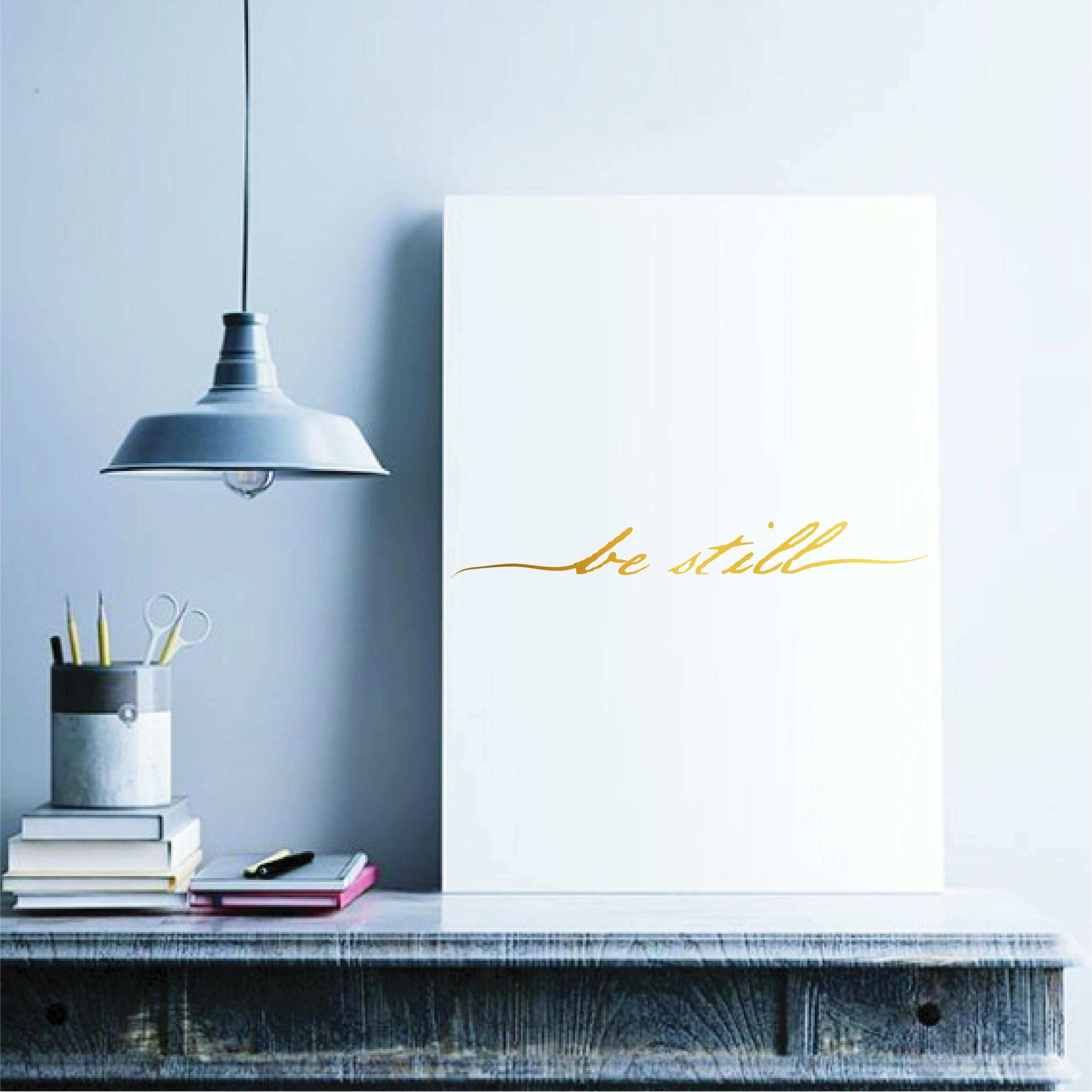 Be Still Gold Foil Vinyl Decal Scripture Quote Real Gold Foil