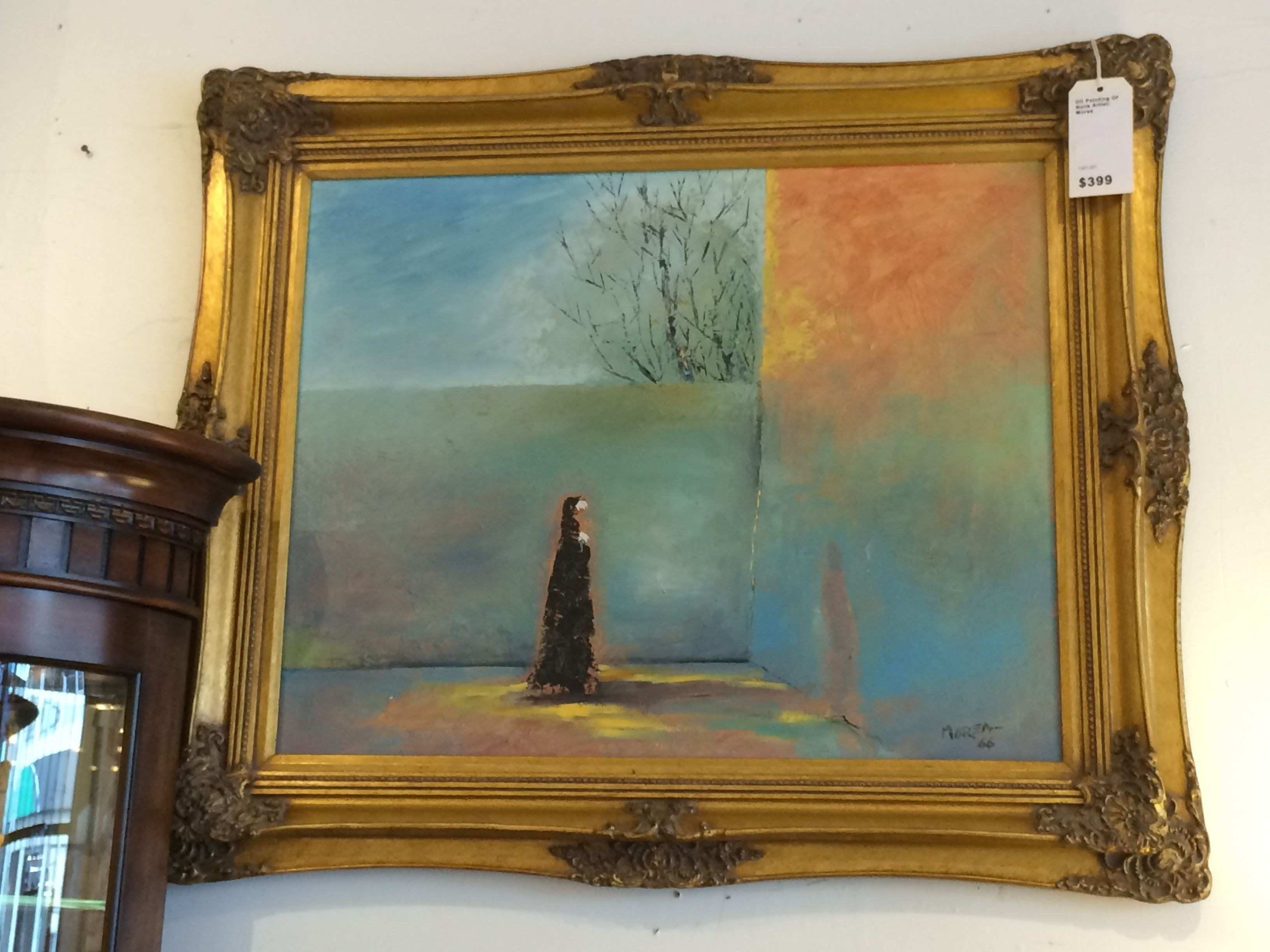 Painting of abstract nun with nice gold frame