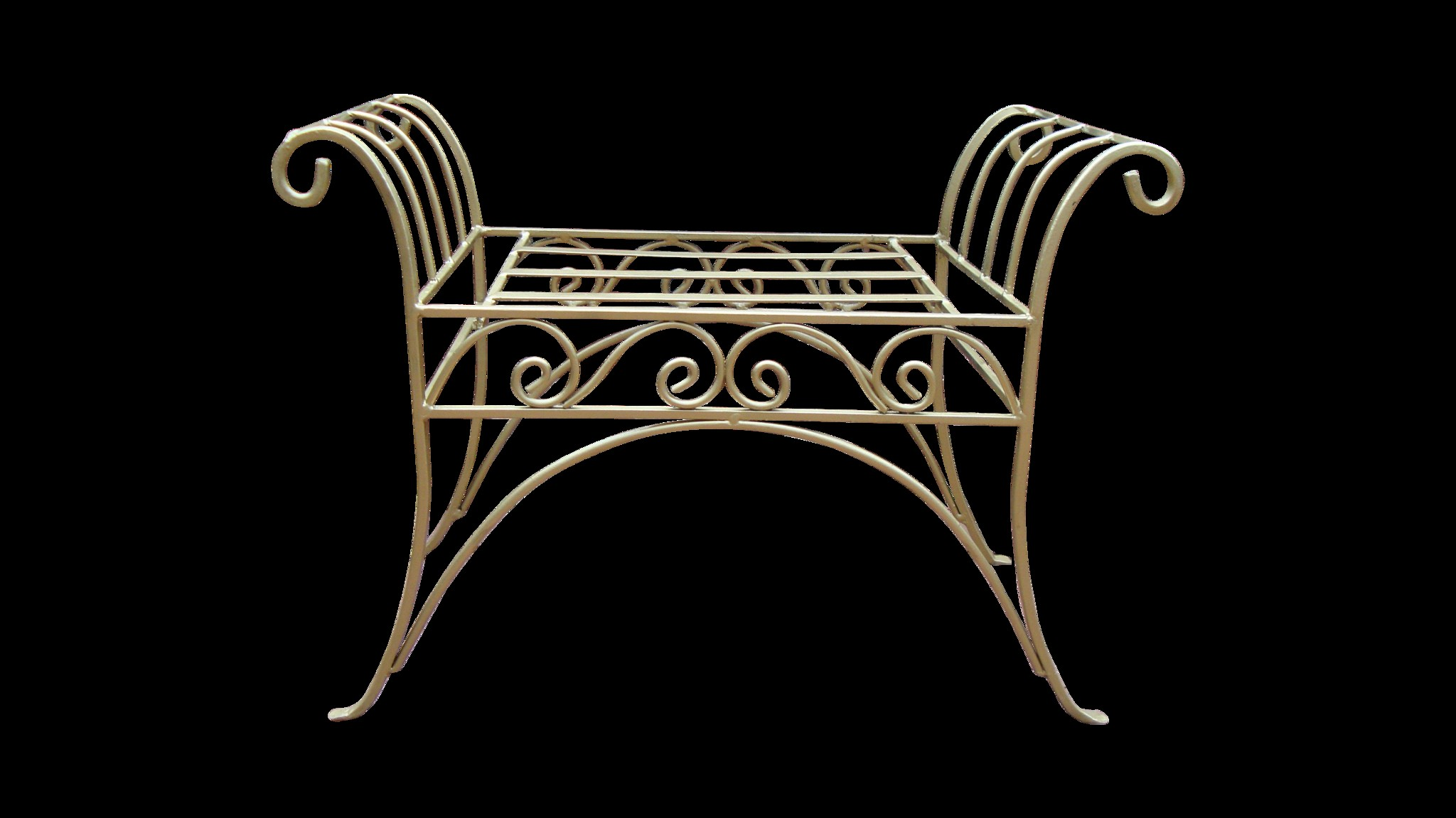 SOLD] Gold Painted French Art Deco Scroll Iron Metal Bench
