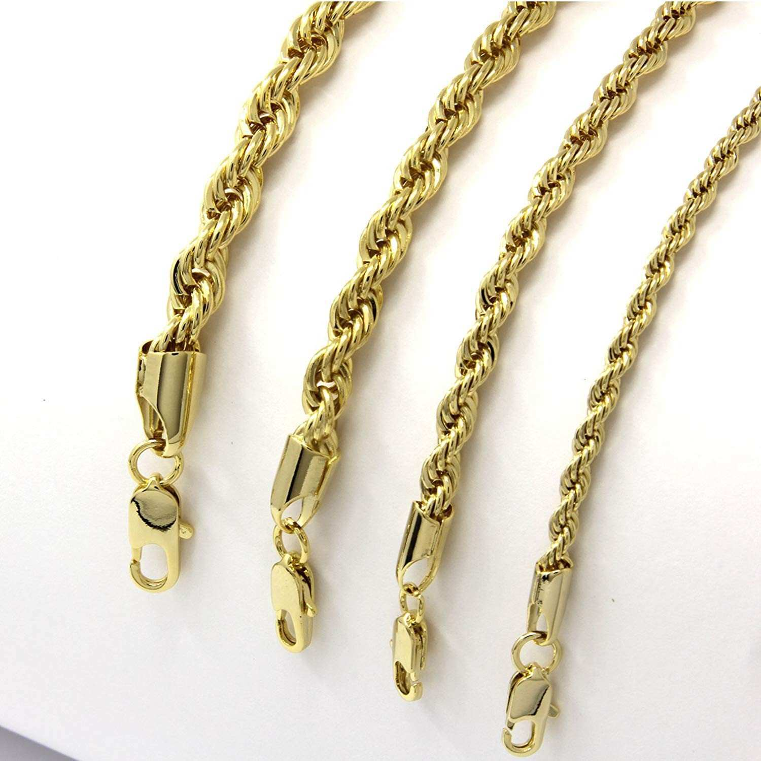 Mens 14k Yellow Gold Plated Width 3 4 5 6mm French Rope Link Chain
