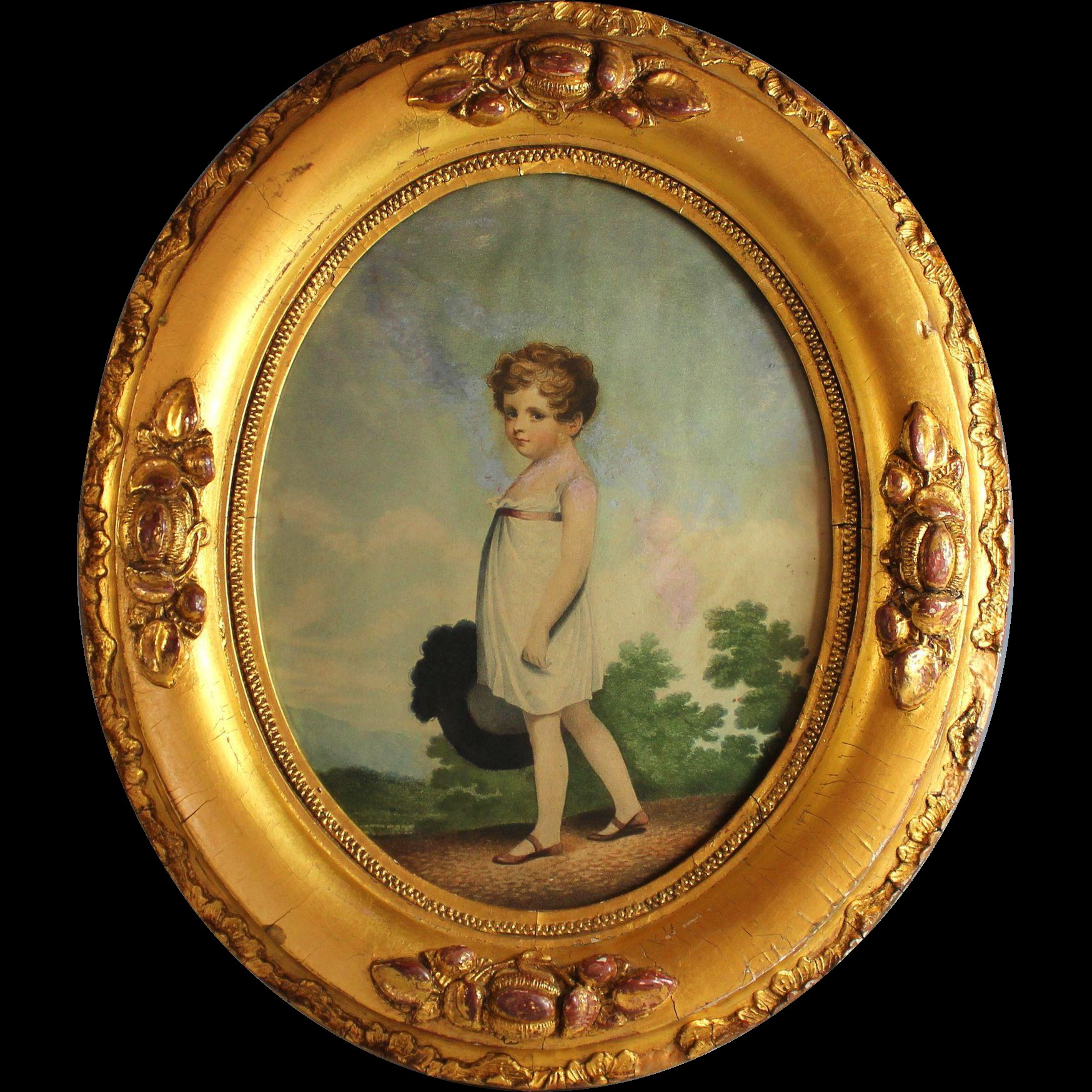 Antique Oval Gilded Frame with Antique Print of a Young Girl