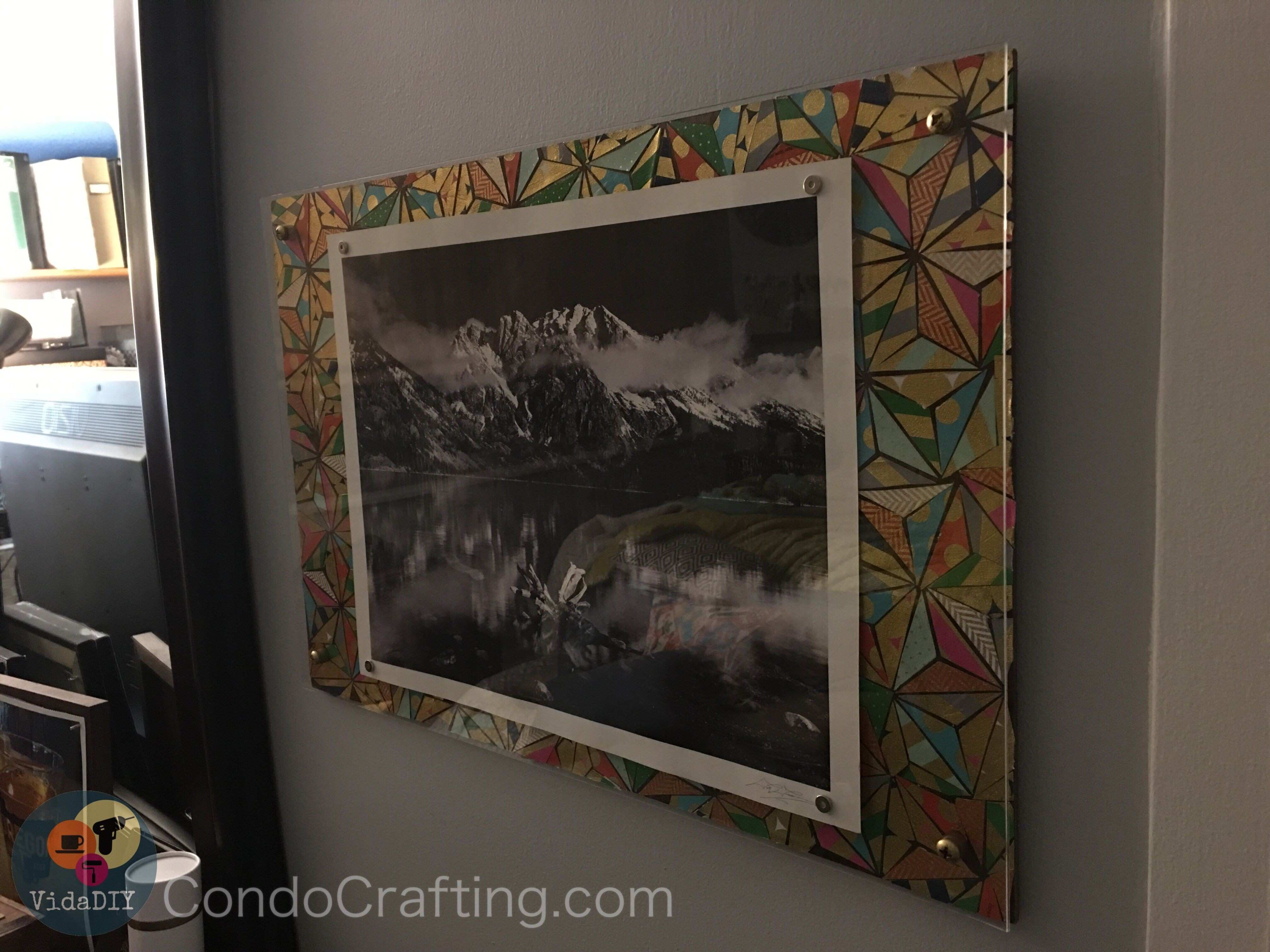 DIY bedroom wall art Mod Podge puzzle decorated wood panel