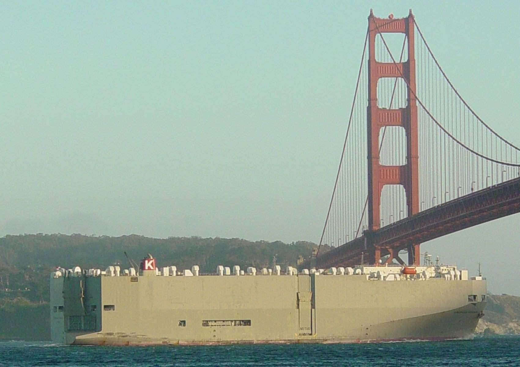 """Ro Ro Roll Roll f ship """"American Highway"""" passing under"""