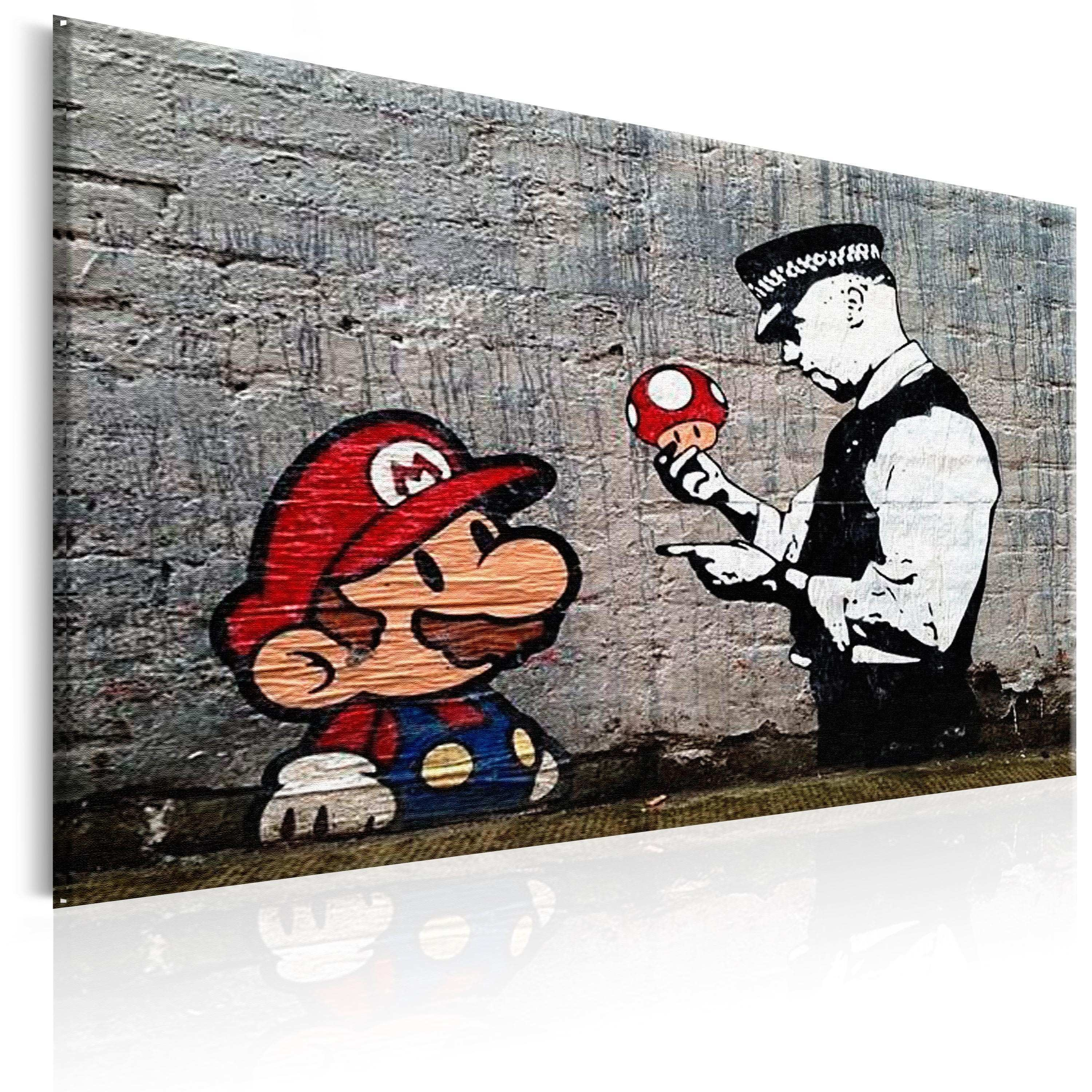 Canvas Painting Mario and Cop by Banksy Graffiti Street Art