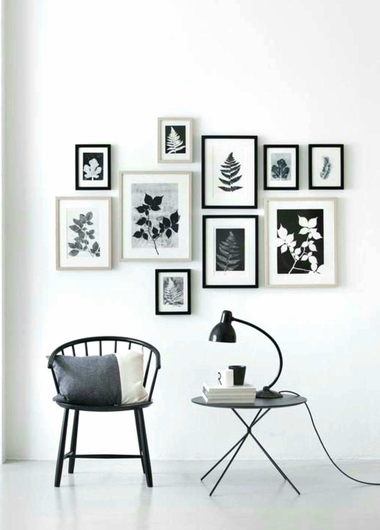 Monochrome black & white gallery wall Merr Pinterest