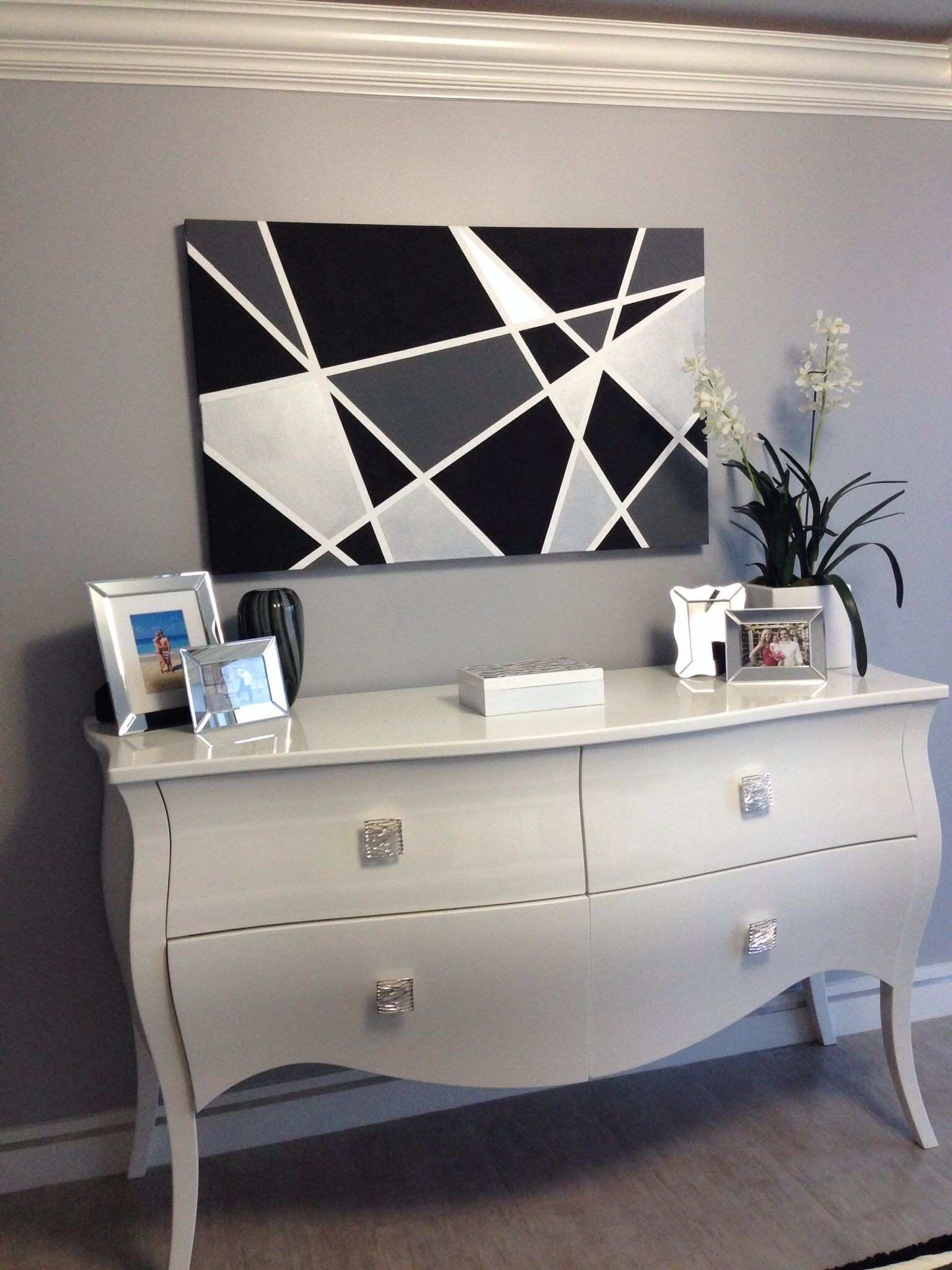DIY canvas painting Black and white under $50 for all materials