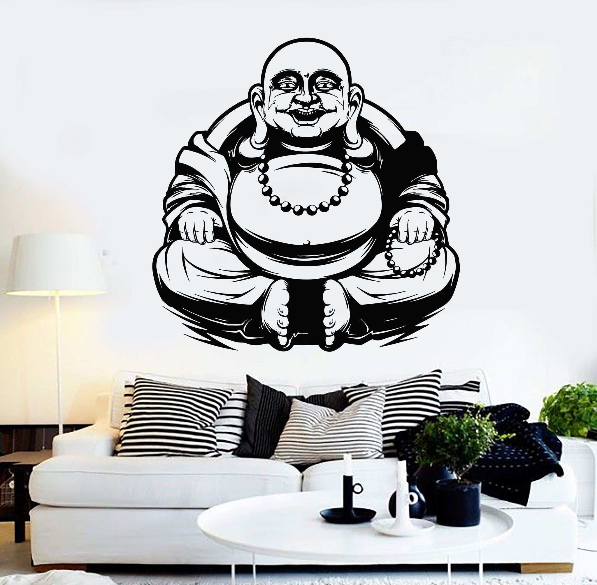 Vinyl Wall Decal Laughing Buddha Buddhism Monk Stickers Unique Gift