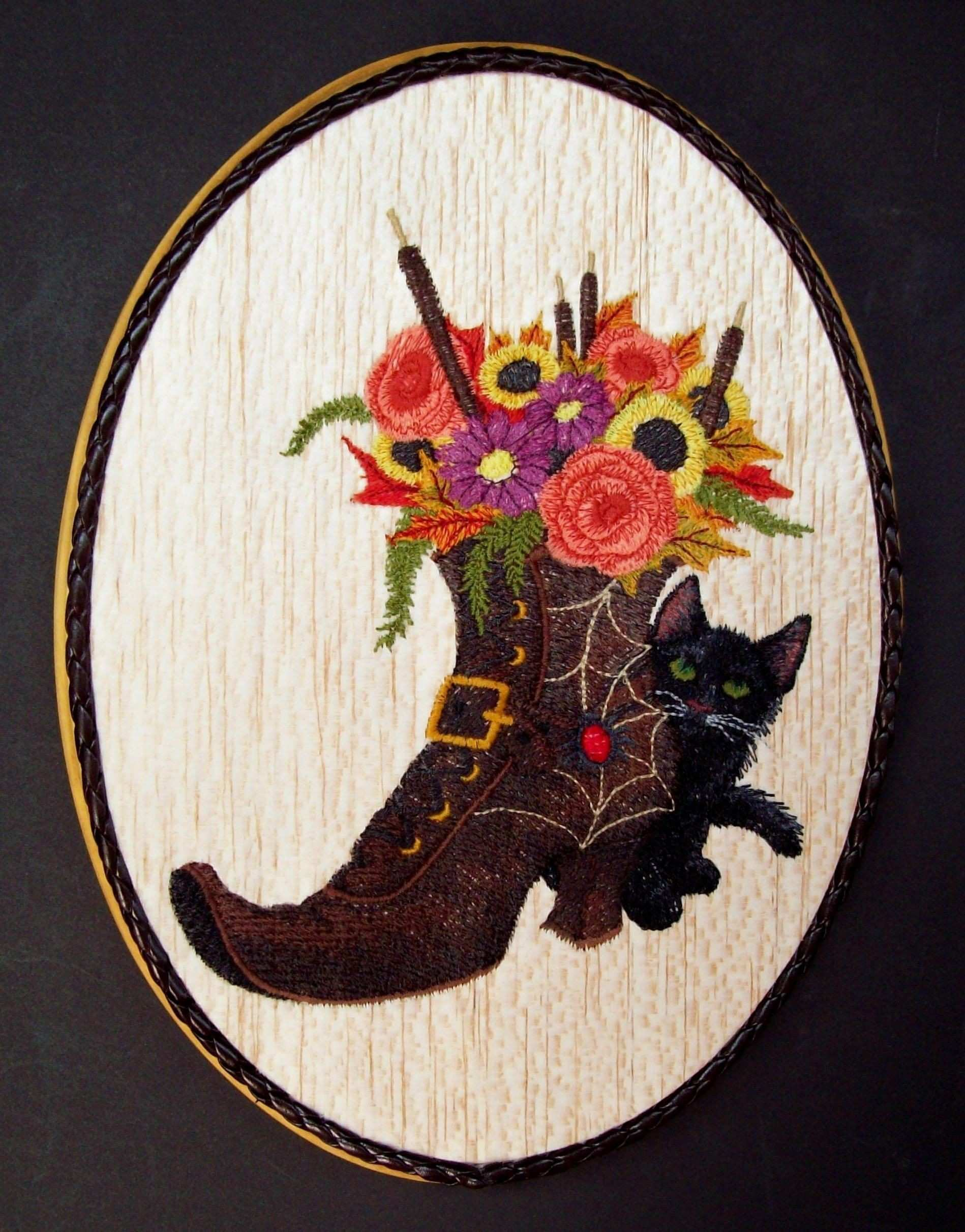 Halloween Witch s Boot Embroidery Wood Art Fall Decorations Black