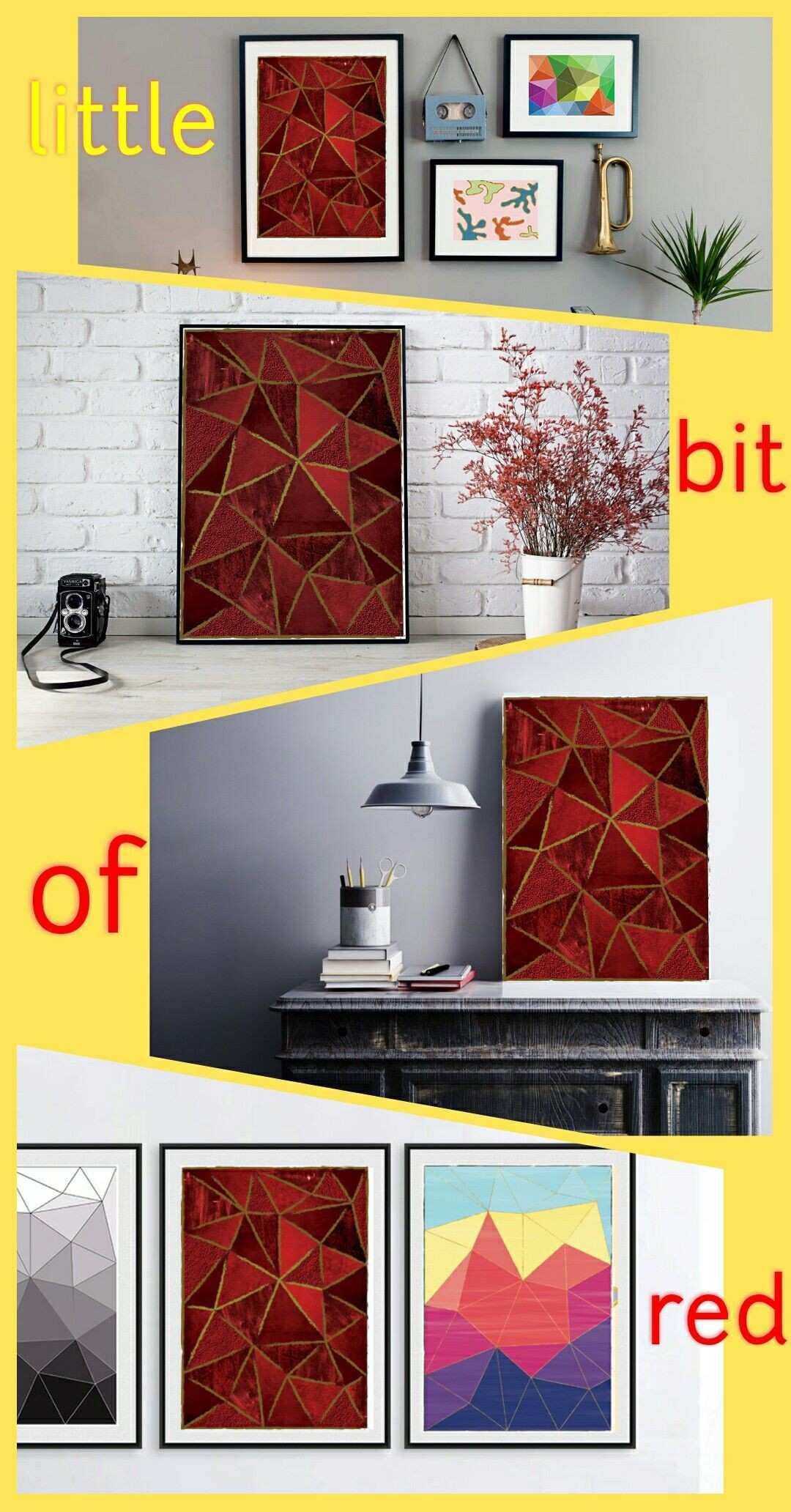 Red Geometric Printable Wall Art for home or work Abstract print