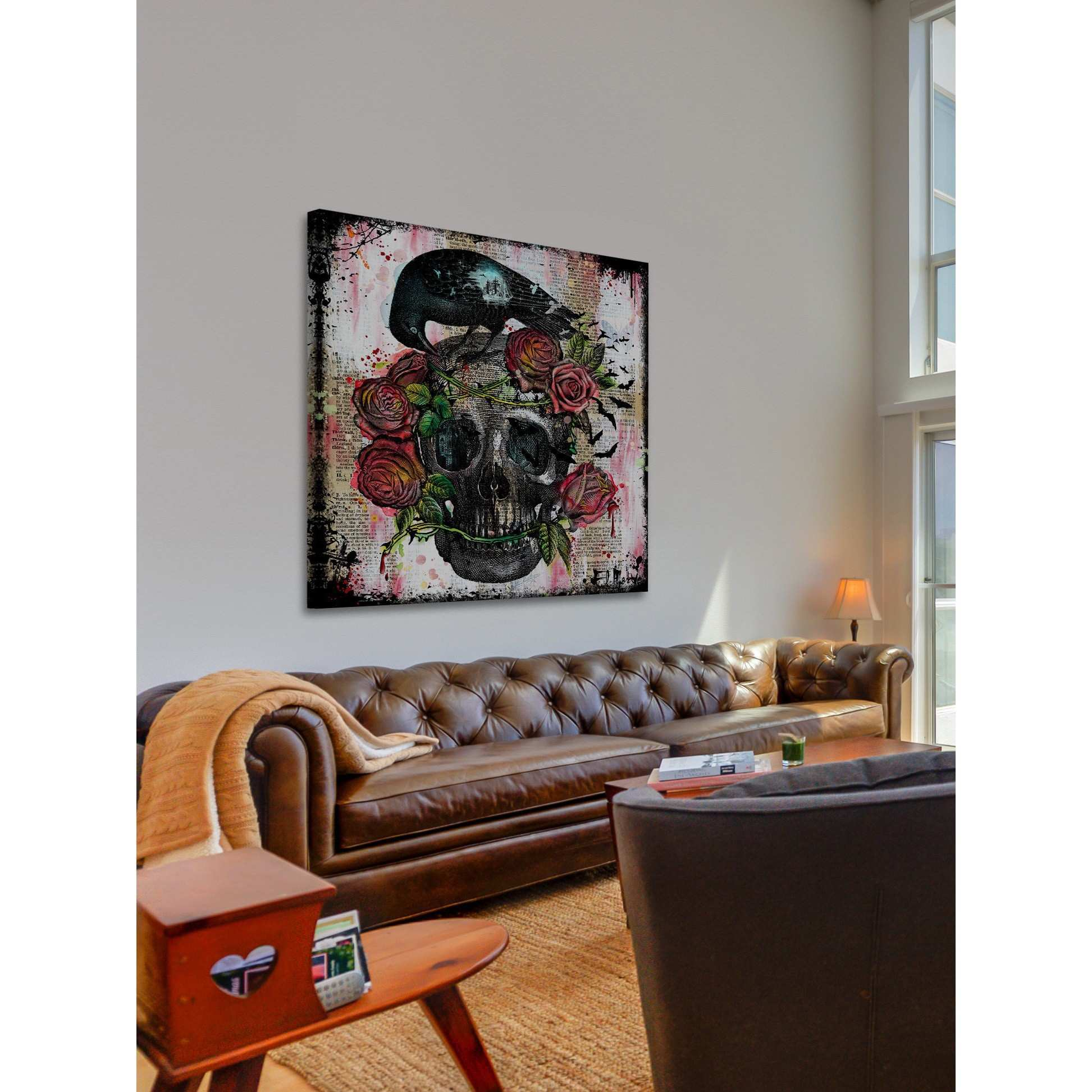 Shop Marmont Hill Vicki Butler Skull Roses Painting Print on