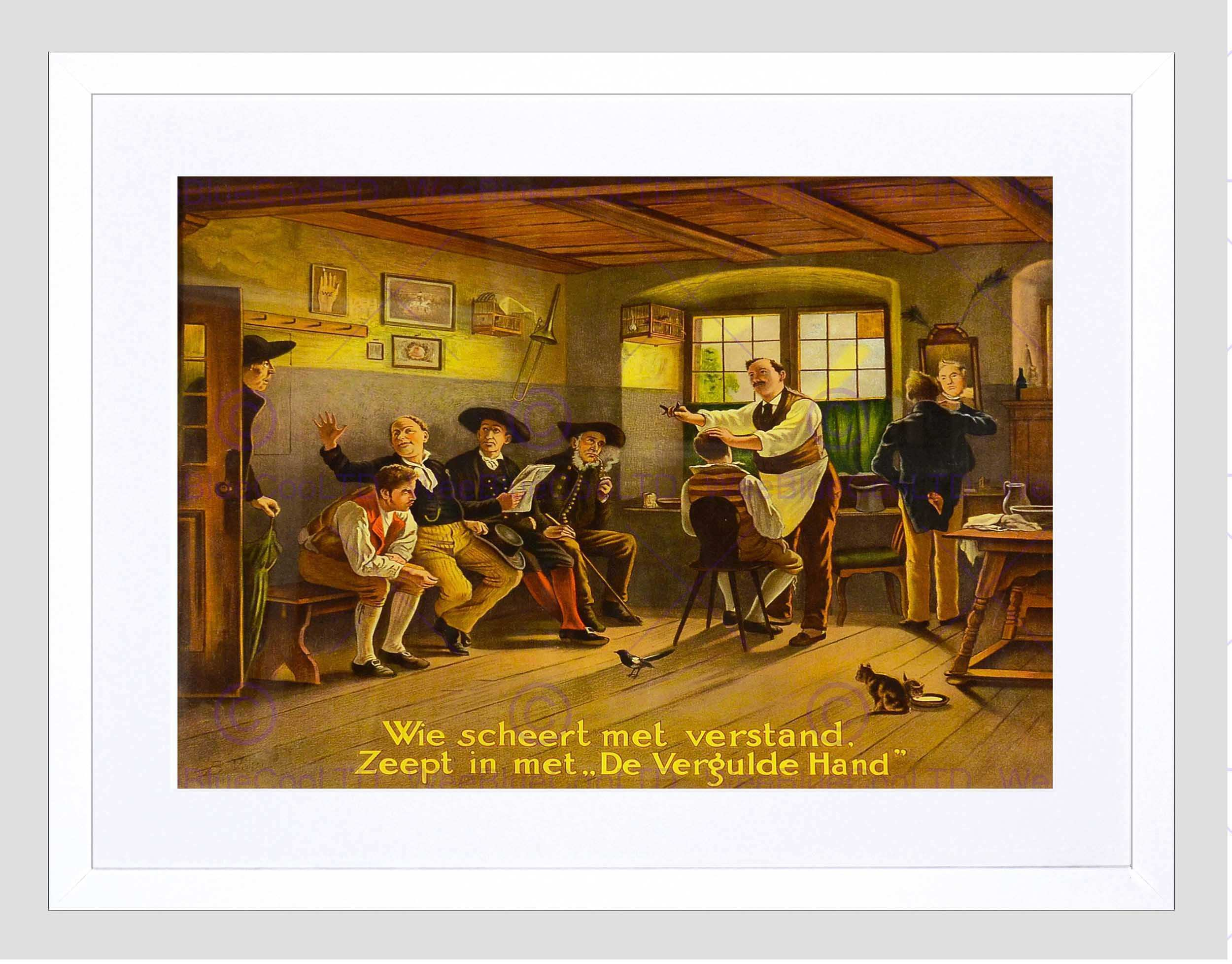 ADVERT BARBER CUTTING HAIR VINTAGE PAINTING AMERICA FRAMED ART PRINT