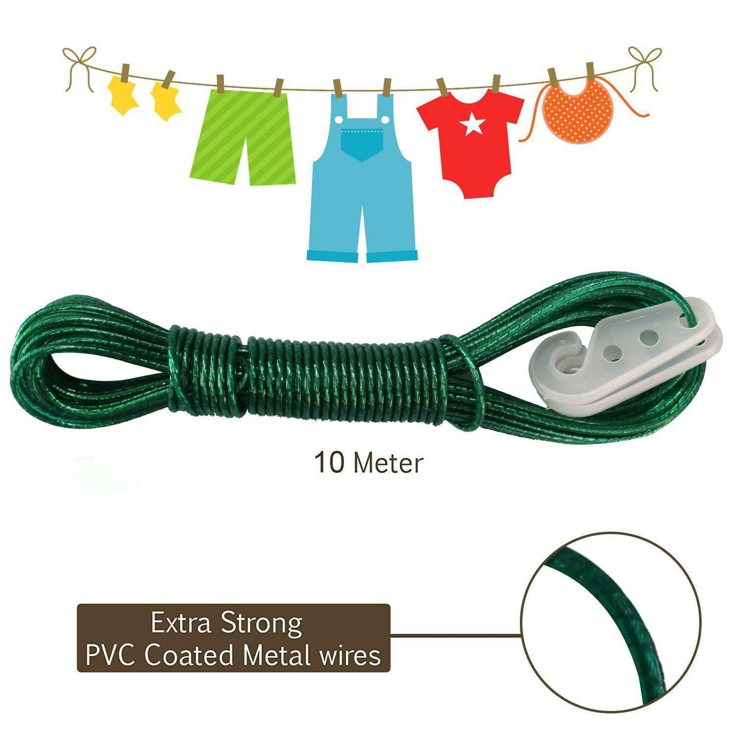 AllExtreme 10 meter PVC Coated Steel Anti Rust Wire Rope Washing
