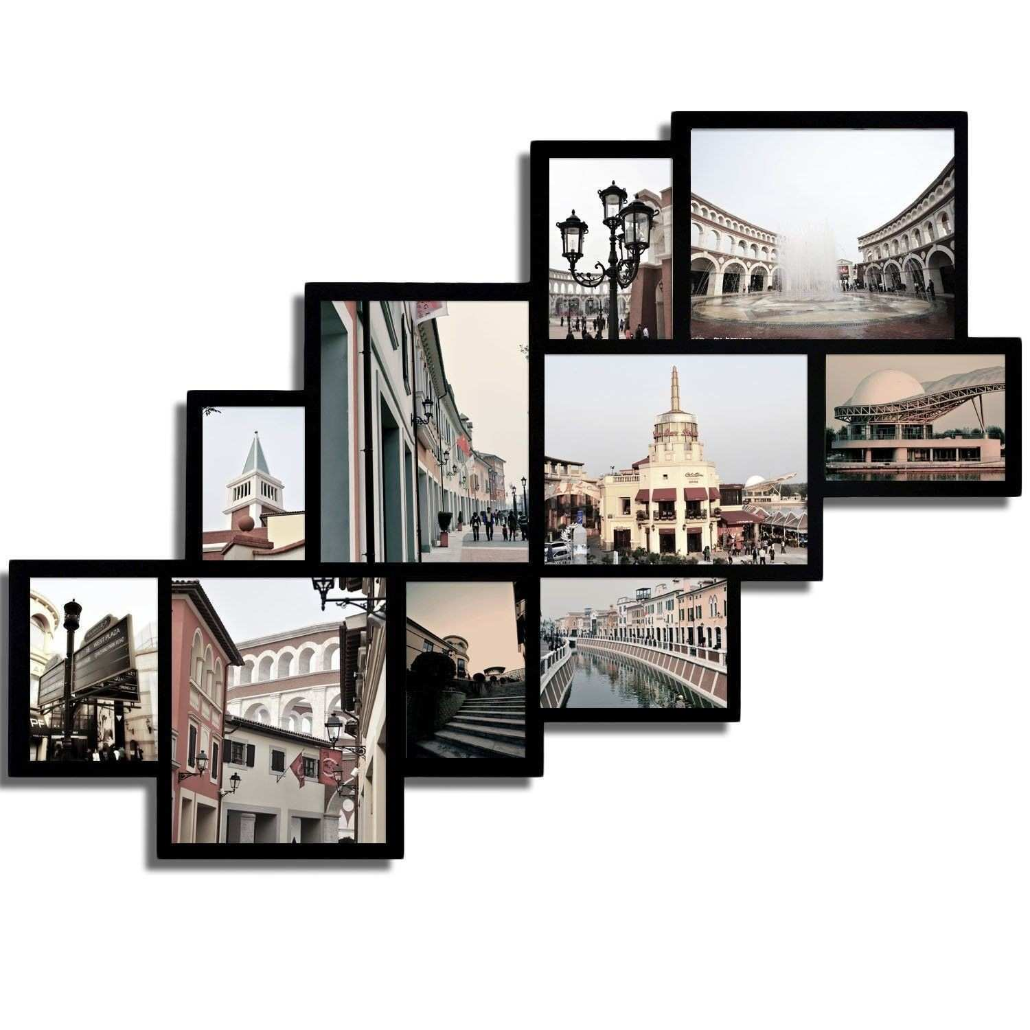 10 Opening Wood Collage Wall Hanging Picture Frame