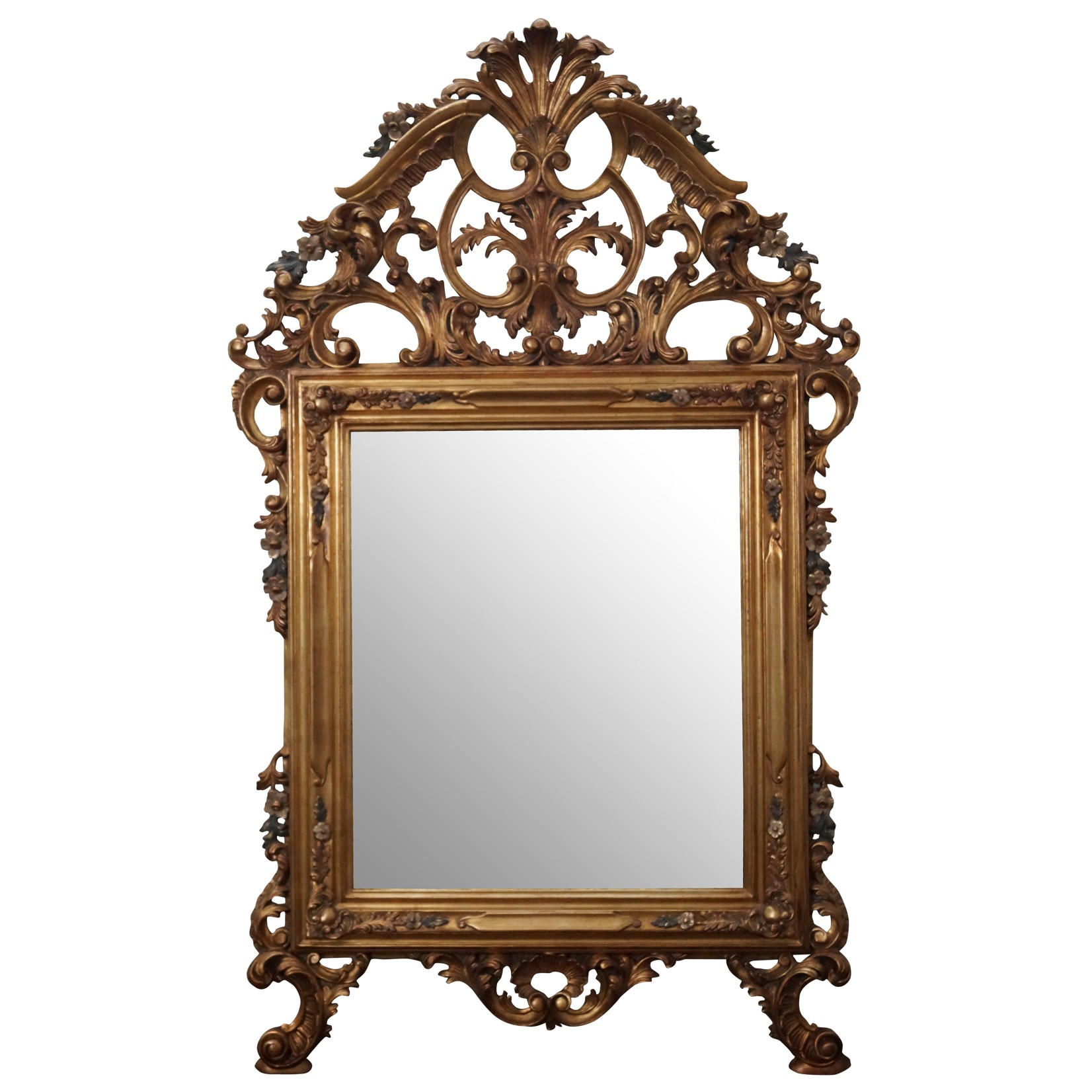 Gold Gilt Wood Carved Rococo Hanging Wall Mirror