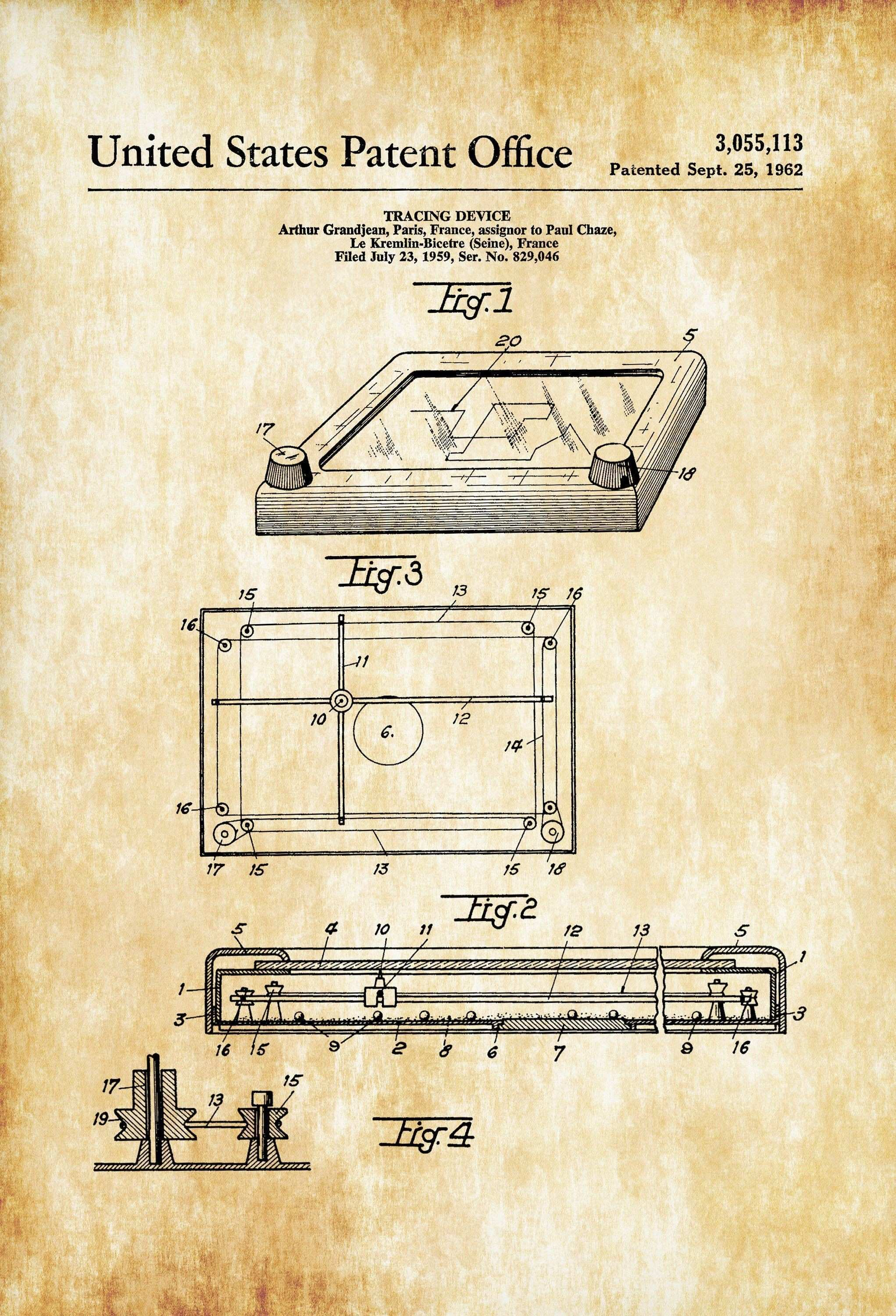 Etch A Sketch Patent – Patent Print Retro Toys Game Room Art Play