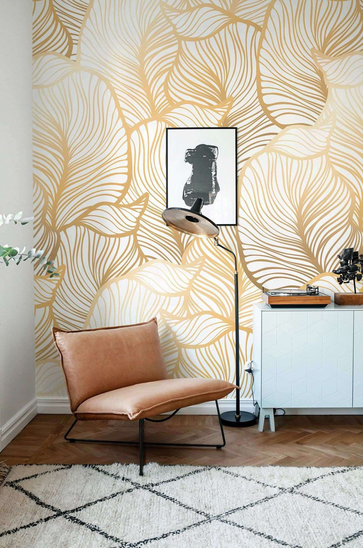 Grey Leaf Wallpaper Exotic Leaves Wallpaper Leaf Wall Mural Scheme