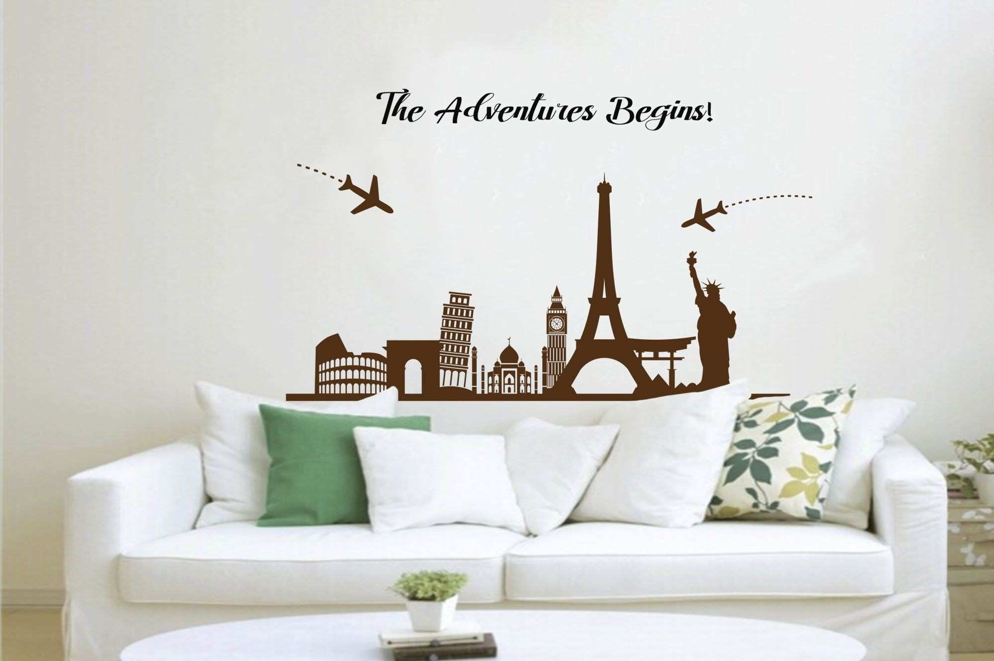 Skyline Decal Fice Wall Decal Cityscape Wall Decal Headboard Wall