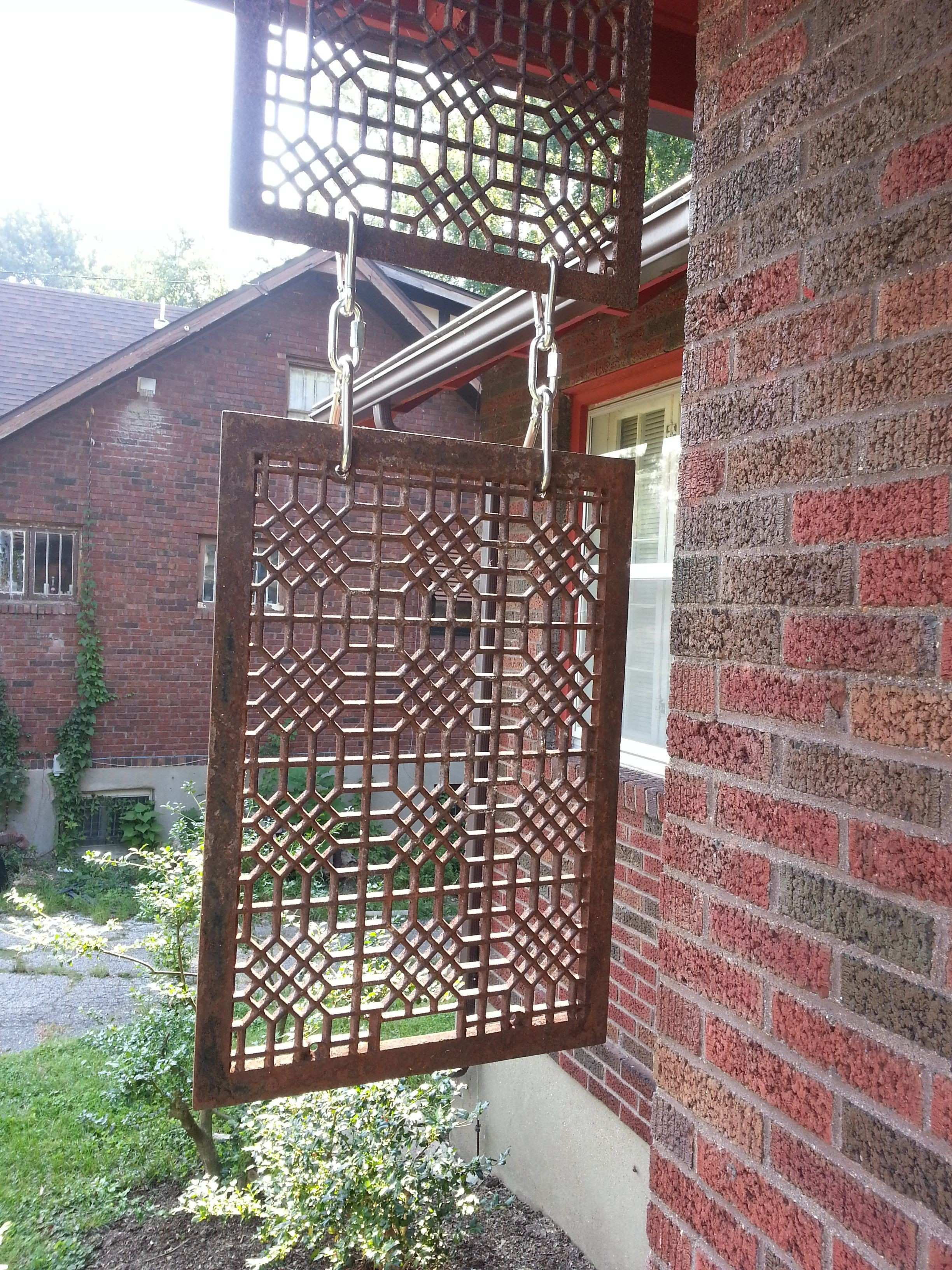 Privacy screen made from salvaged furnace grates Heavy duty snap