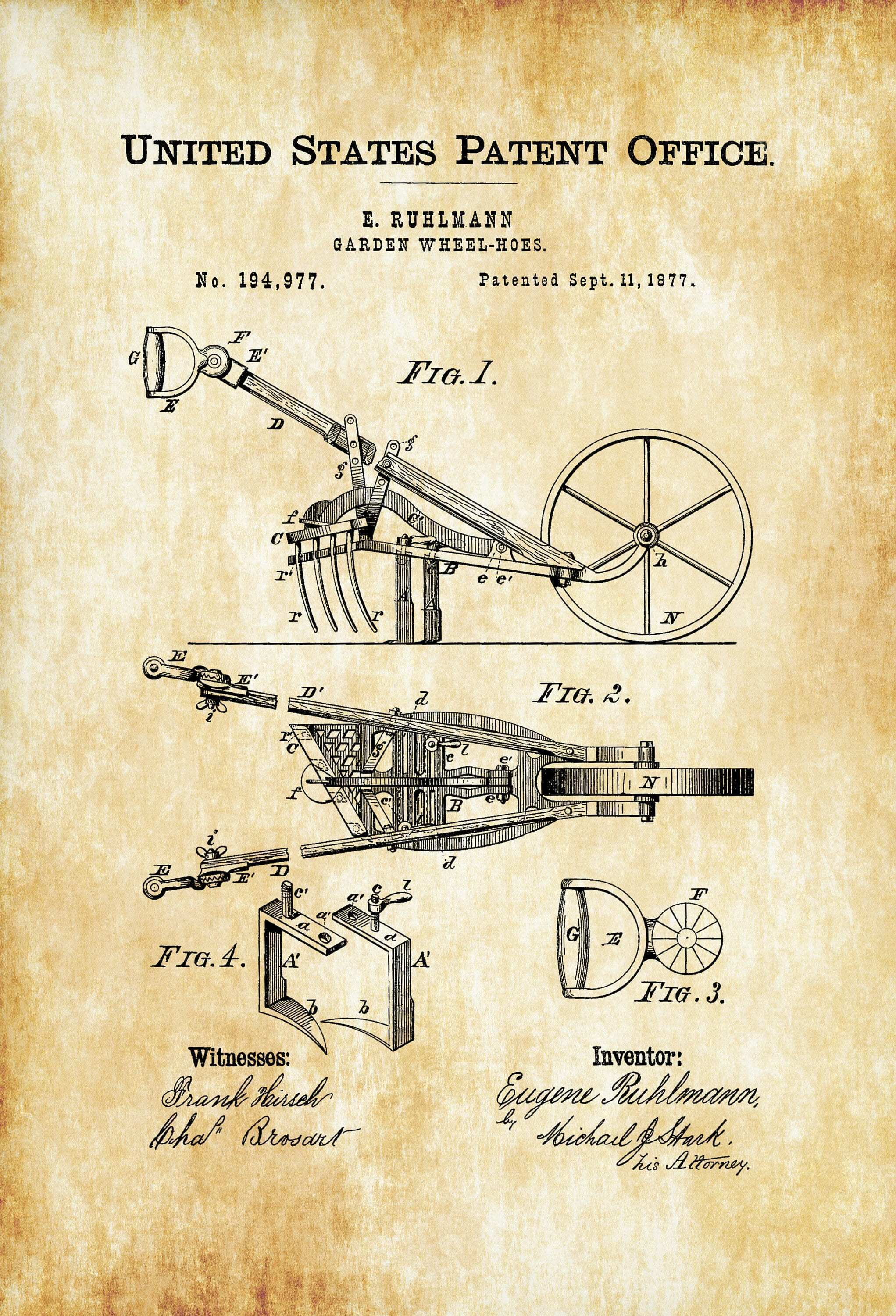 Garden Wheel Hoes Patent – Patent Print Decor Home Decor Patent