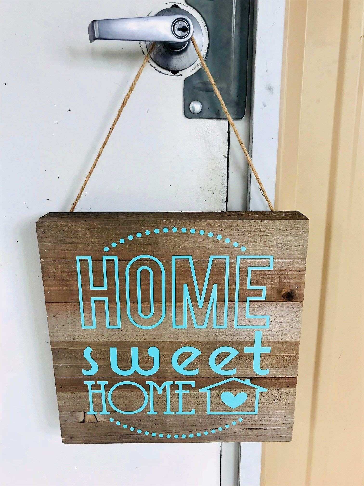 Home Sweet Home Wood Sign 12x12 Hanging Wall Decor Teal Vinyl