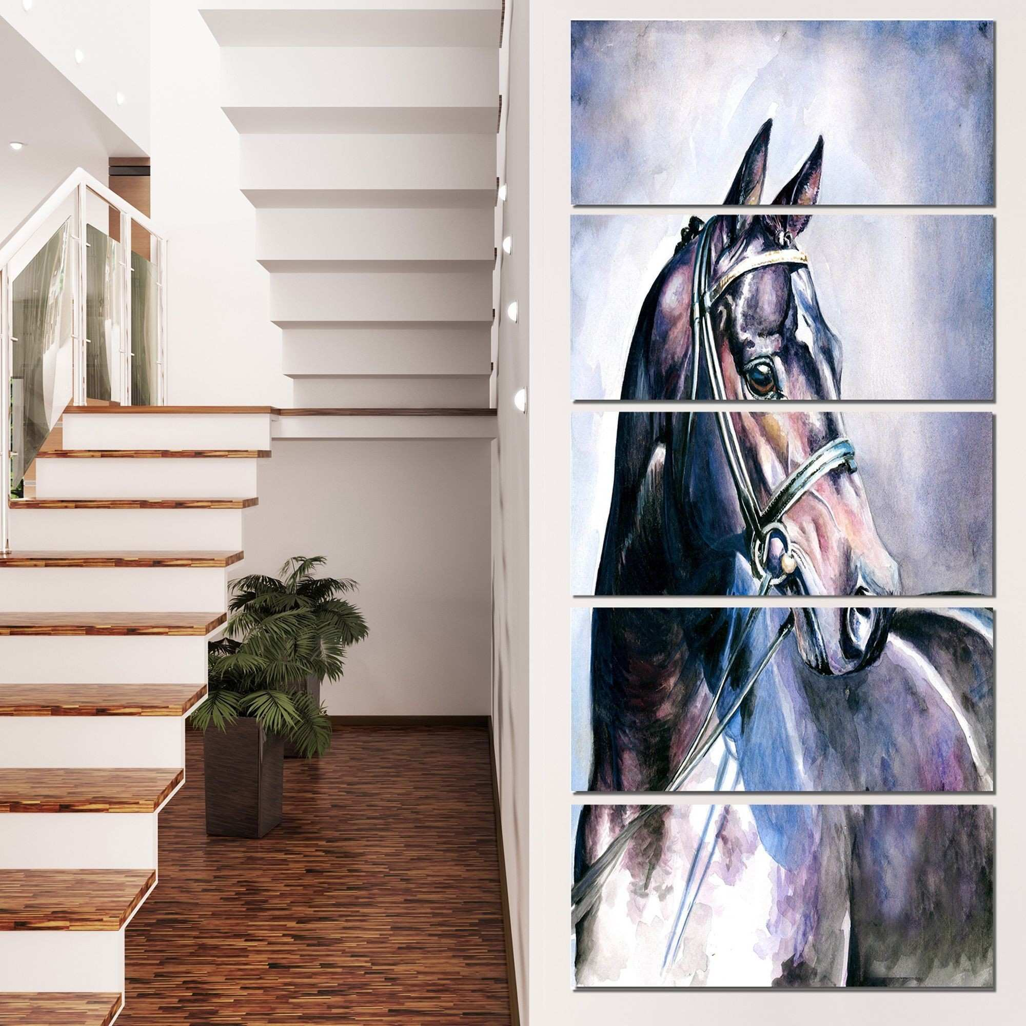 Designart Black Horse with Bridle Animal Wall Art Print Design