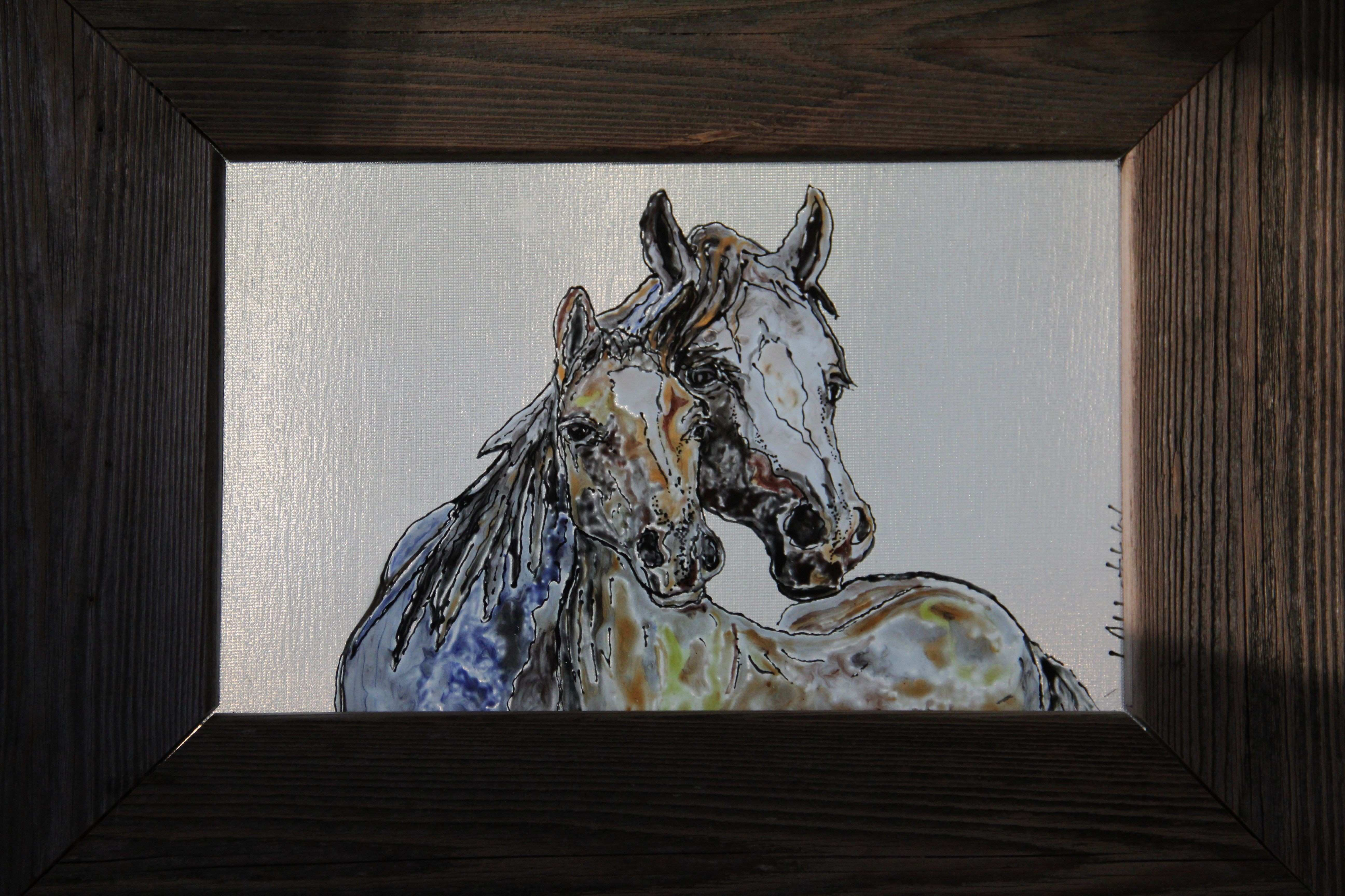 This mare and foal painting is pleted and framed in old barn wood