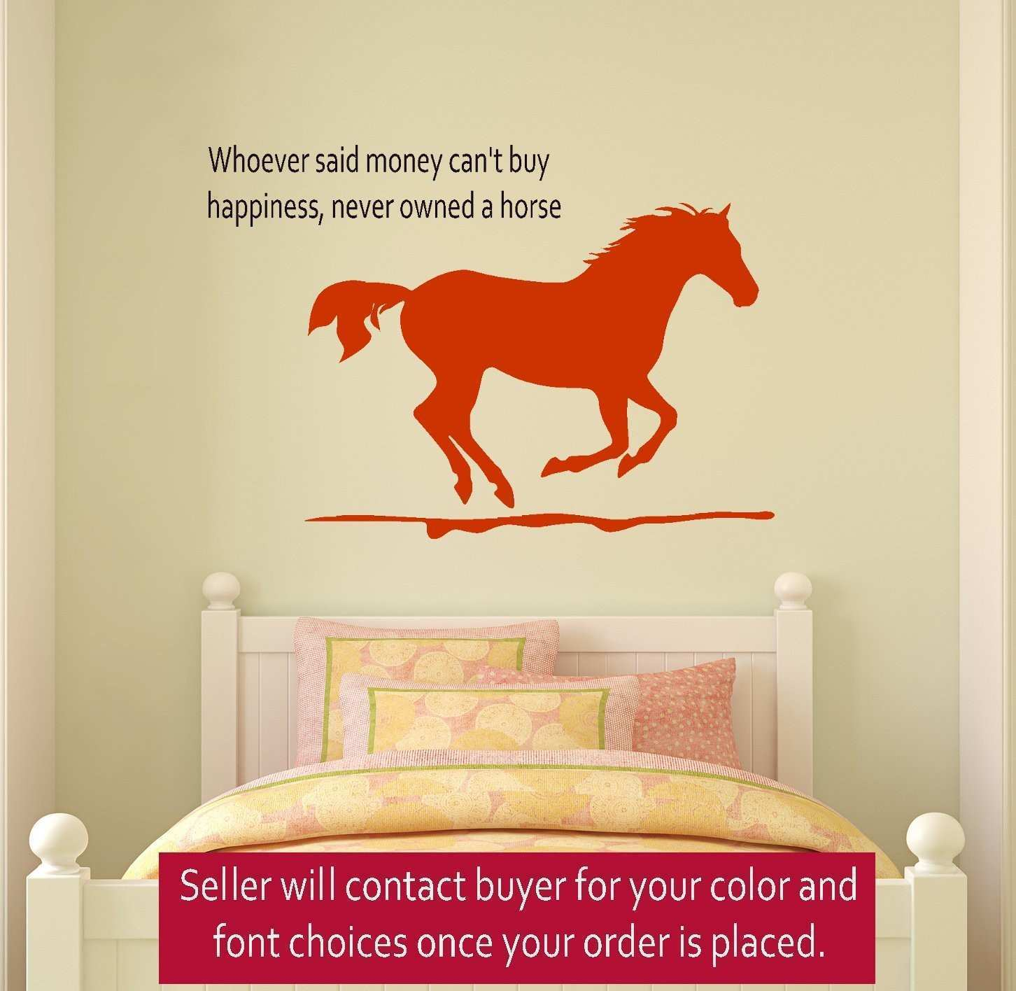 Bedroom Fabulous Amusing Beige Wall Decor And Stunning Horse Wall