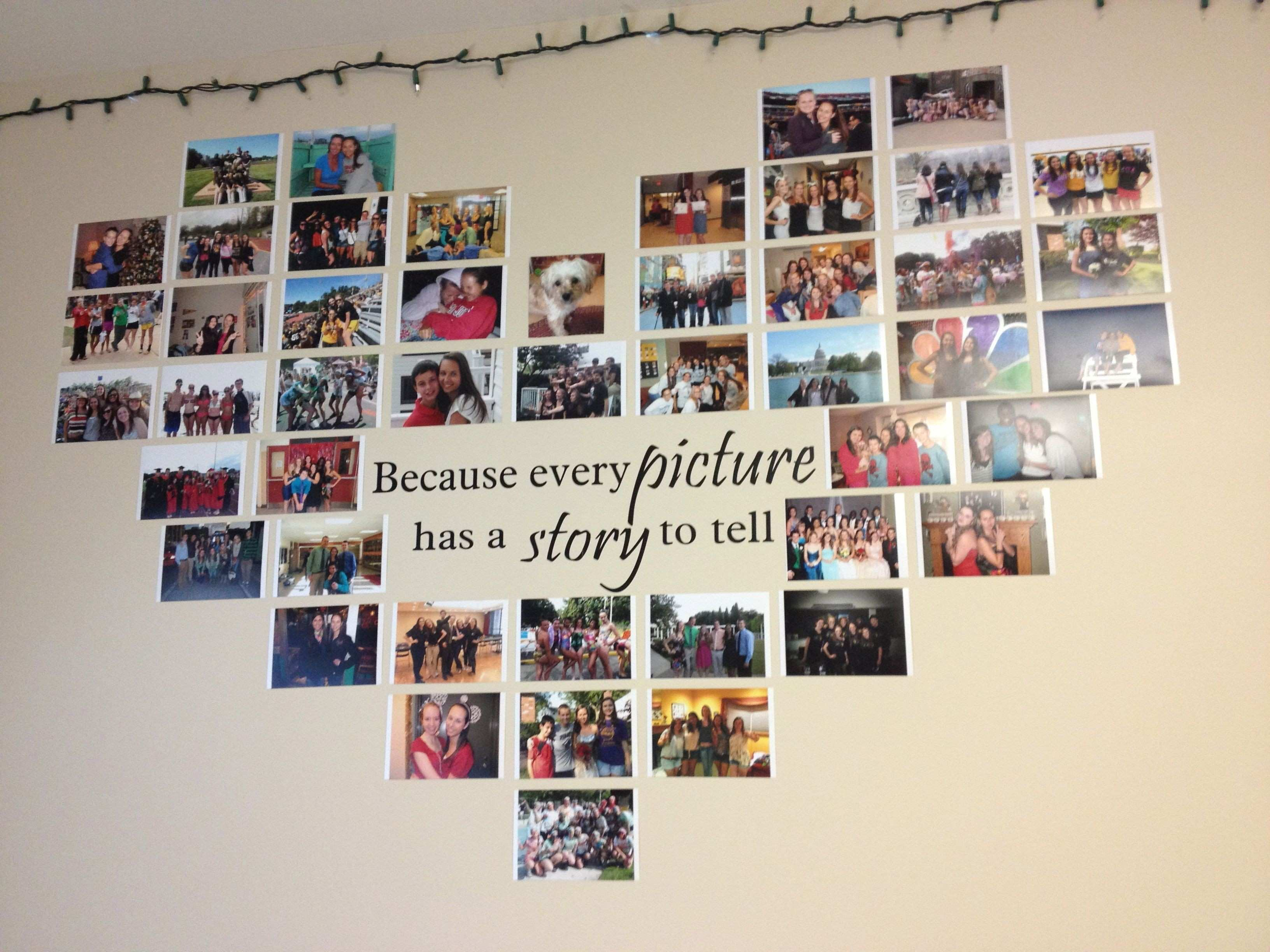 Heart photo collage with a quote in the middle Quote decal from