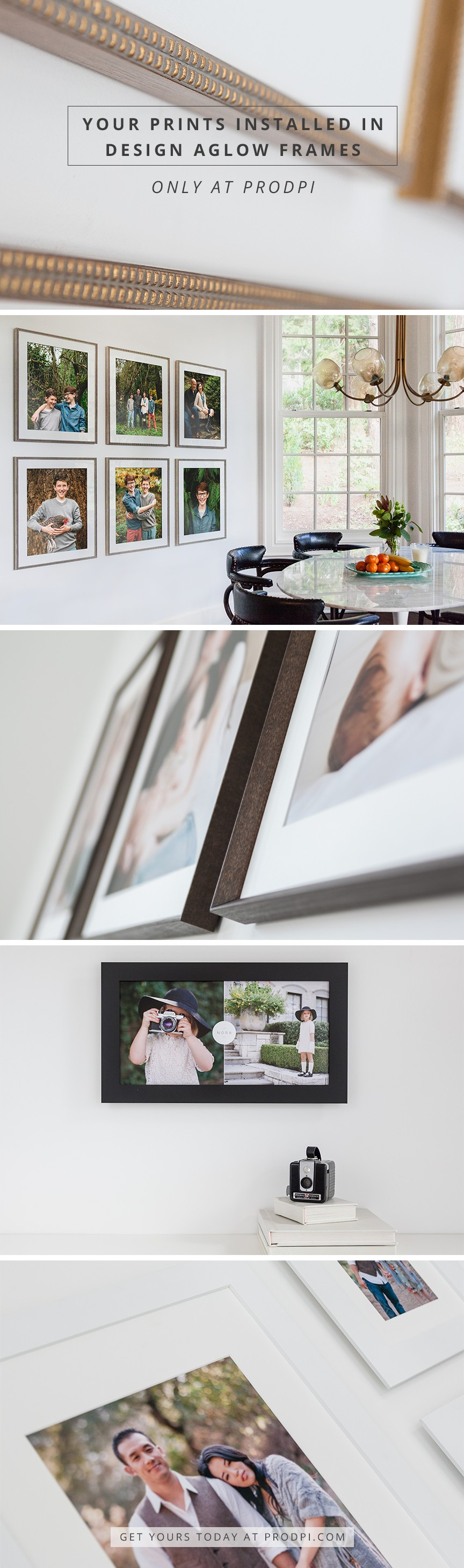 Your prints installed in Design Aglow frames delivered straight to