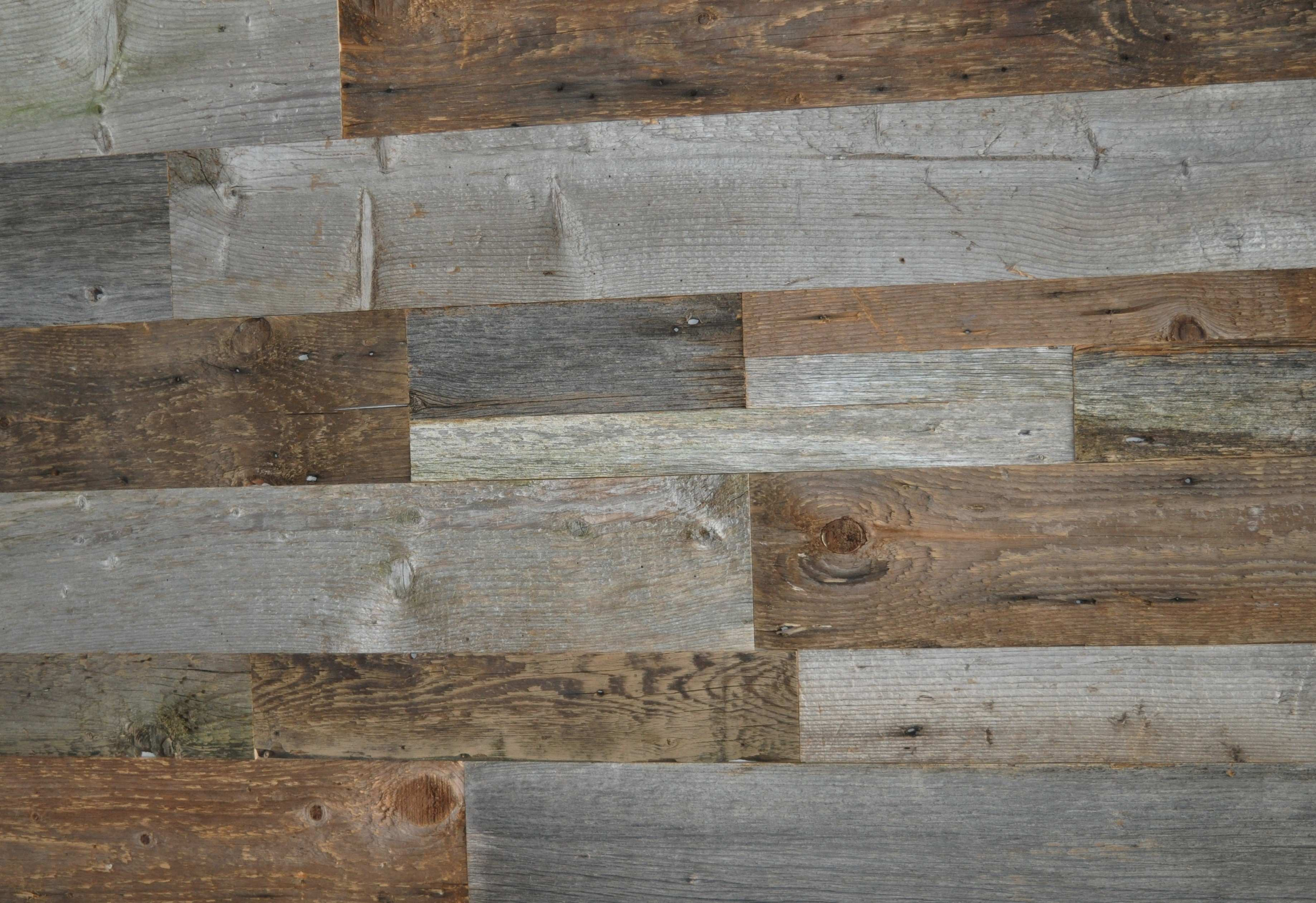 DIY Reclaimed Wood Accent Wall Grey and Natural Brown Shades Mixed