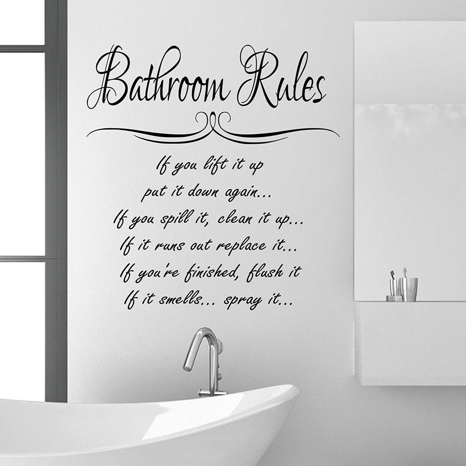 Bathroom Rules Wall Sticker Quote Funny Vinyl Decal Graphic Super Tech