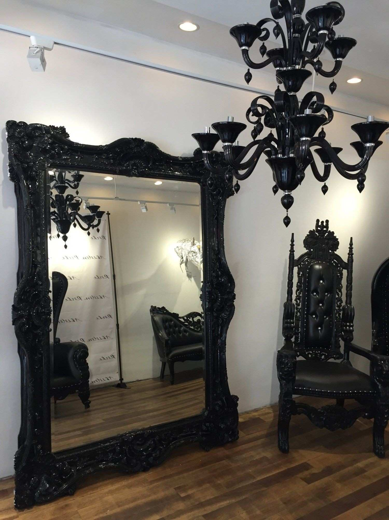 NYC FLOOR MODEL Baroque Ornate Carved Mirror Black