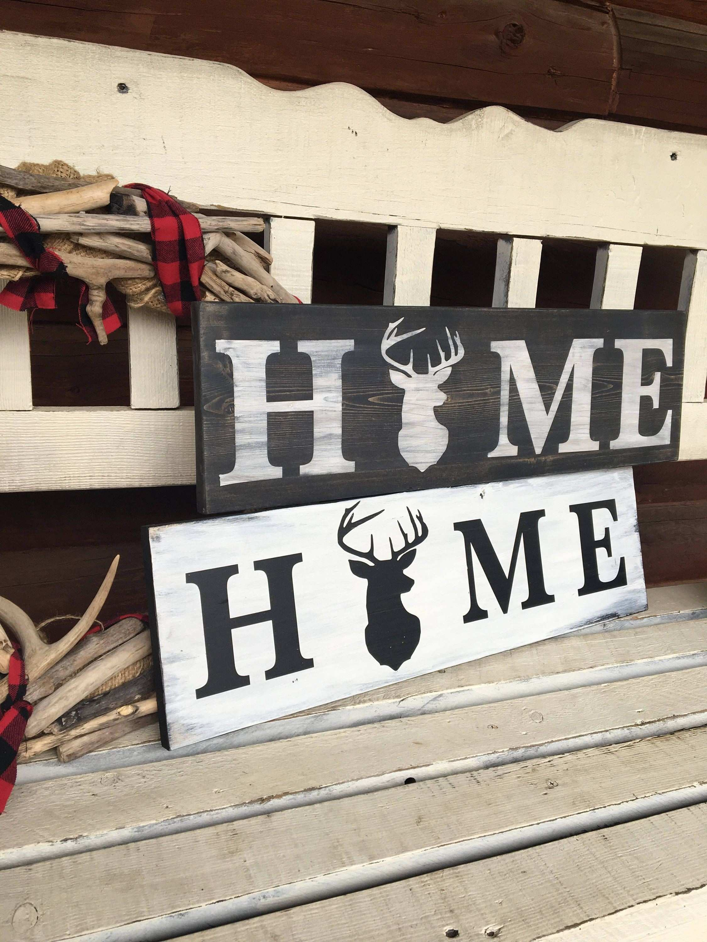 HUNTING HOME DECOR Antler Art Rustic Home Decor Deer Wood Sign Man