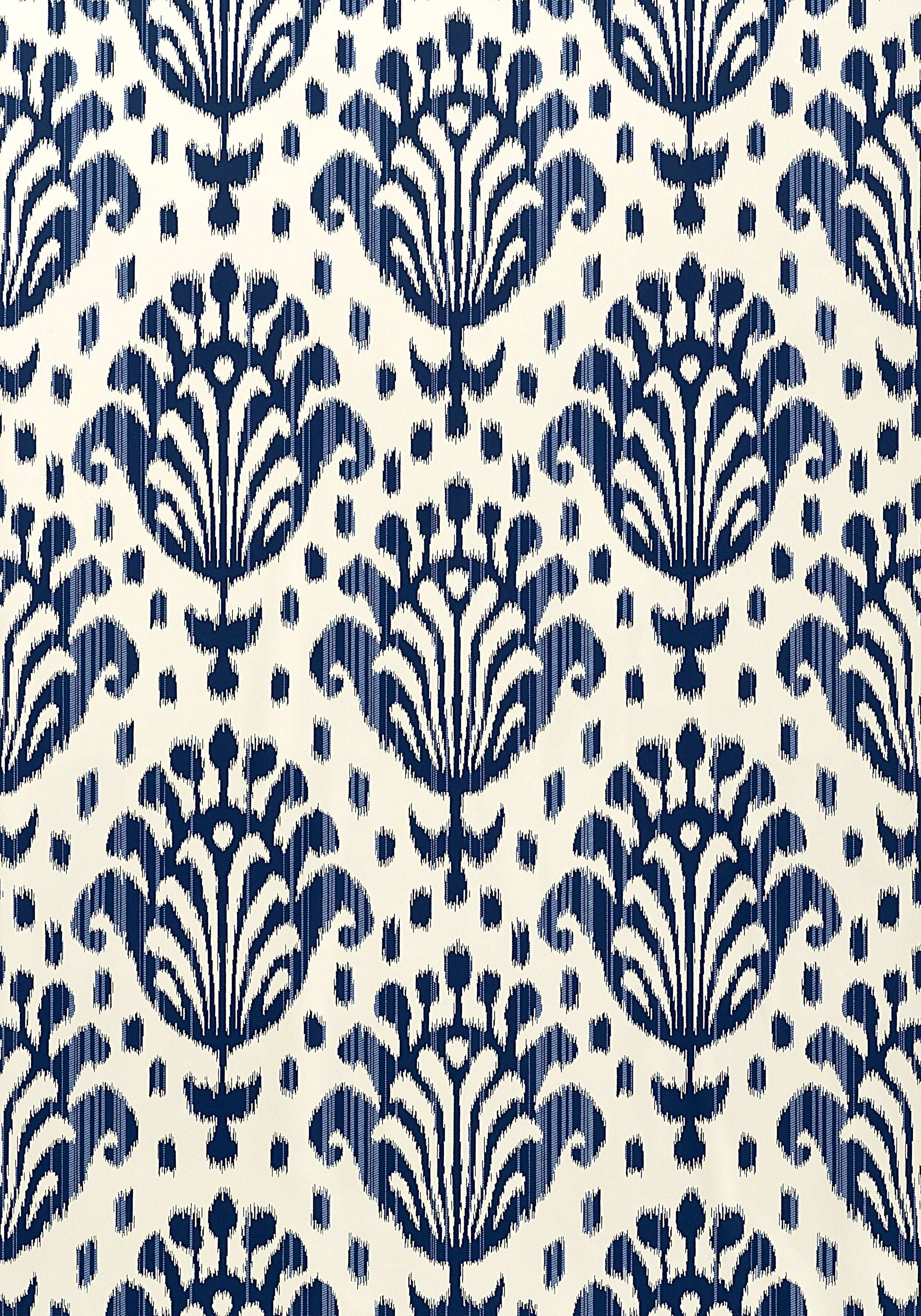 THAI IKAT Navy on f White T4948 Collection Jubilee from Thibaut