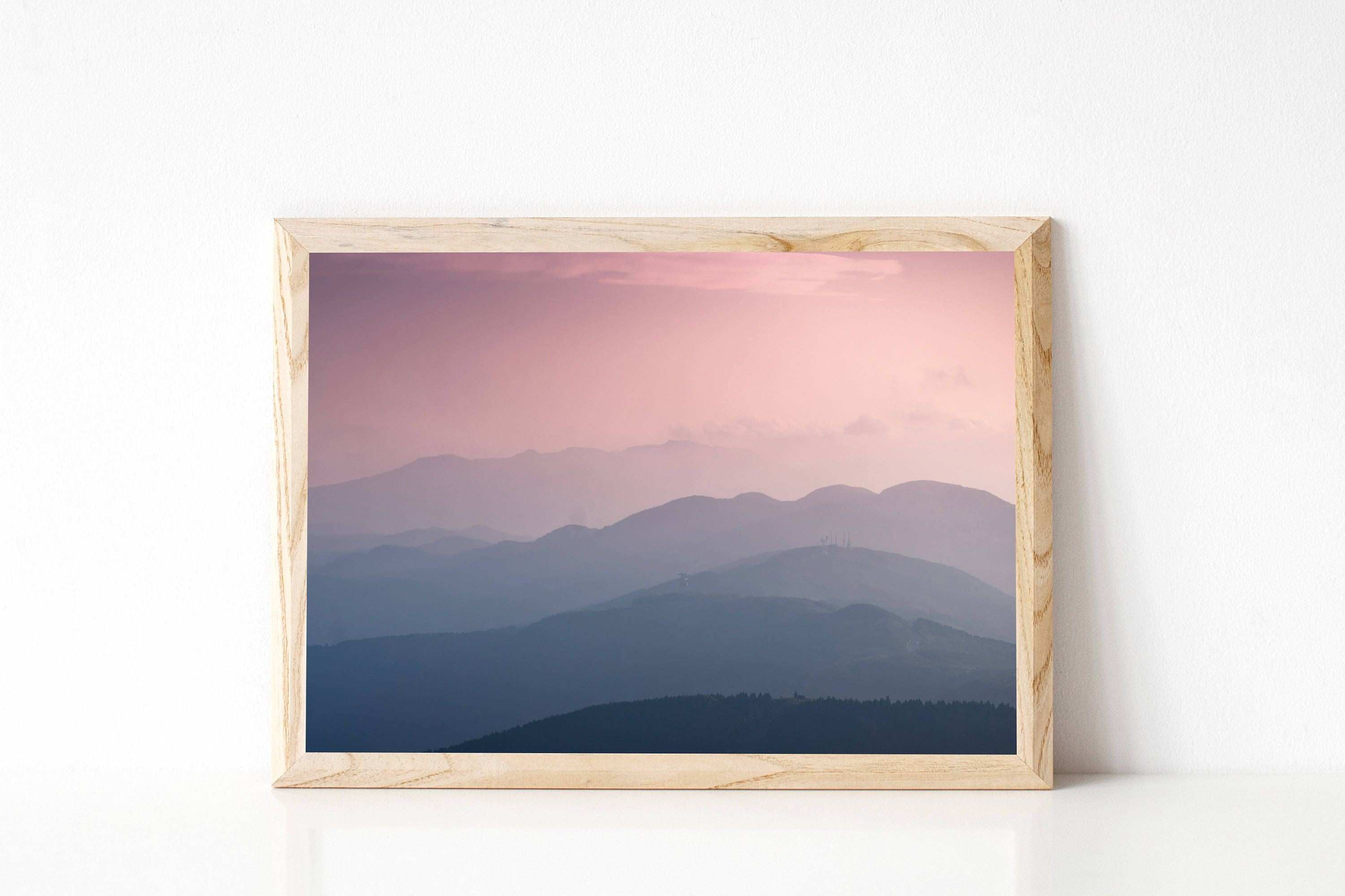 Serene mountains blush pink mountain scene able art