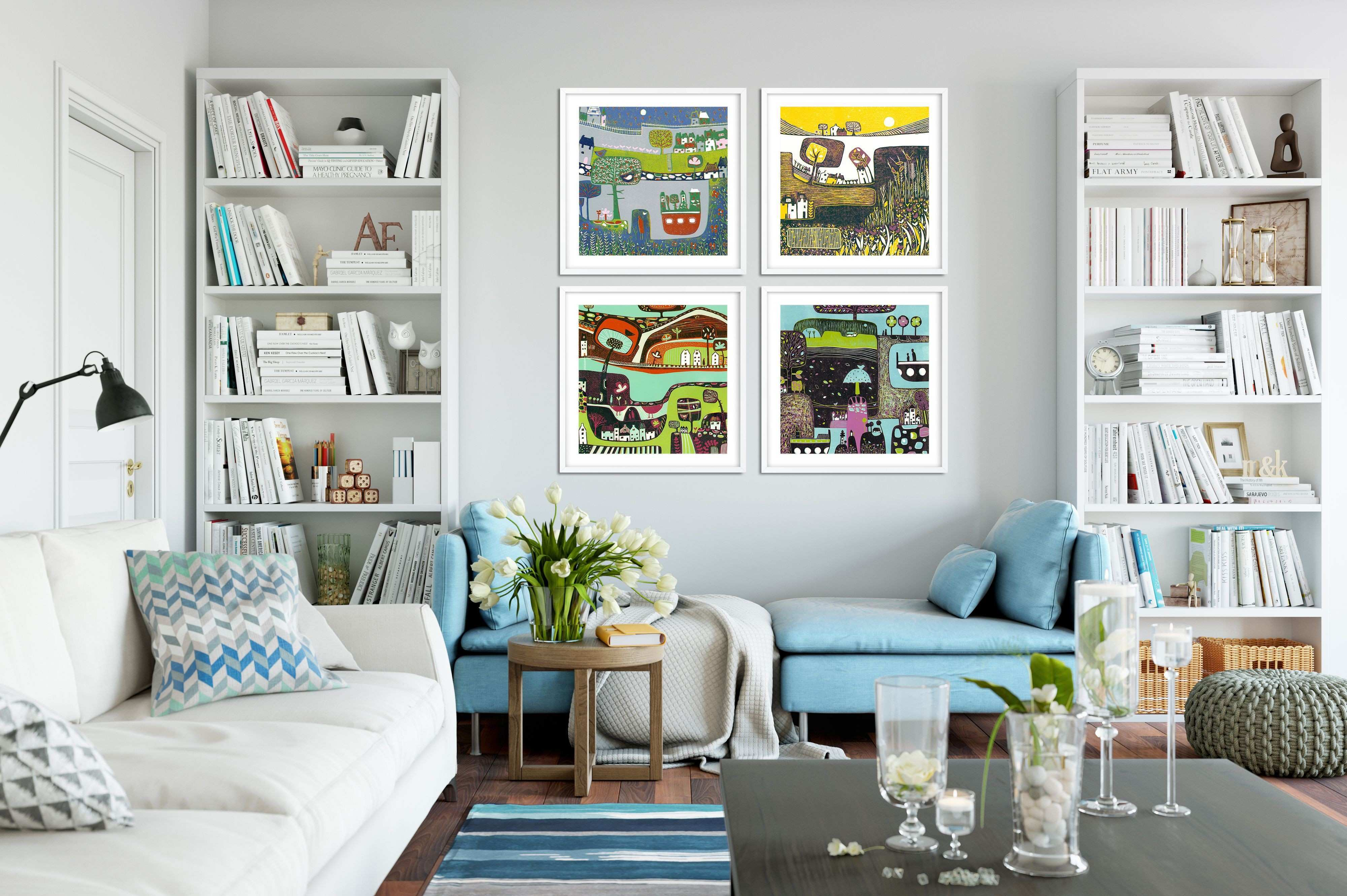 Set of 4 Prints Wall Art Living Room Square Wall Art Prints Set of
