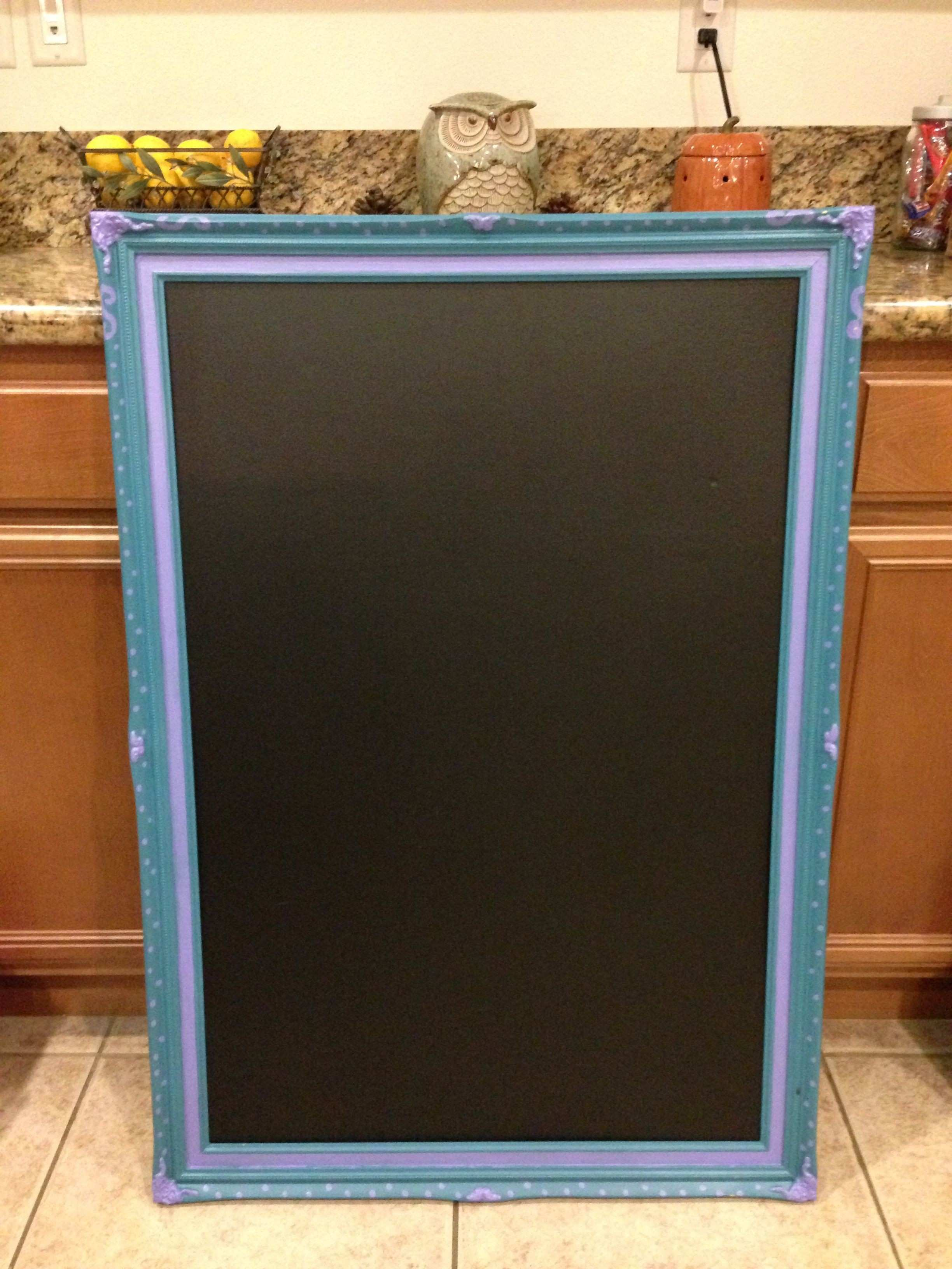 Wood Frame = pretty inexpensive chalkboard Not permanent and