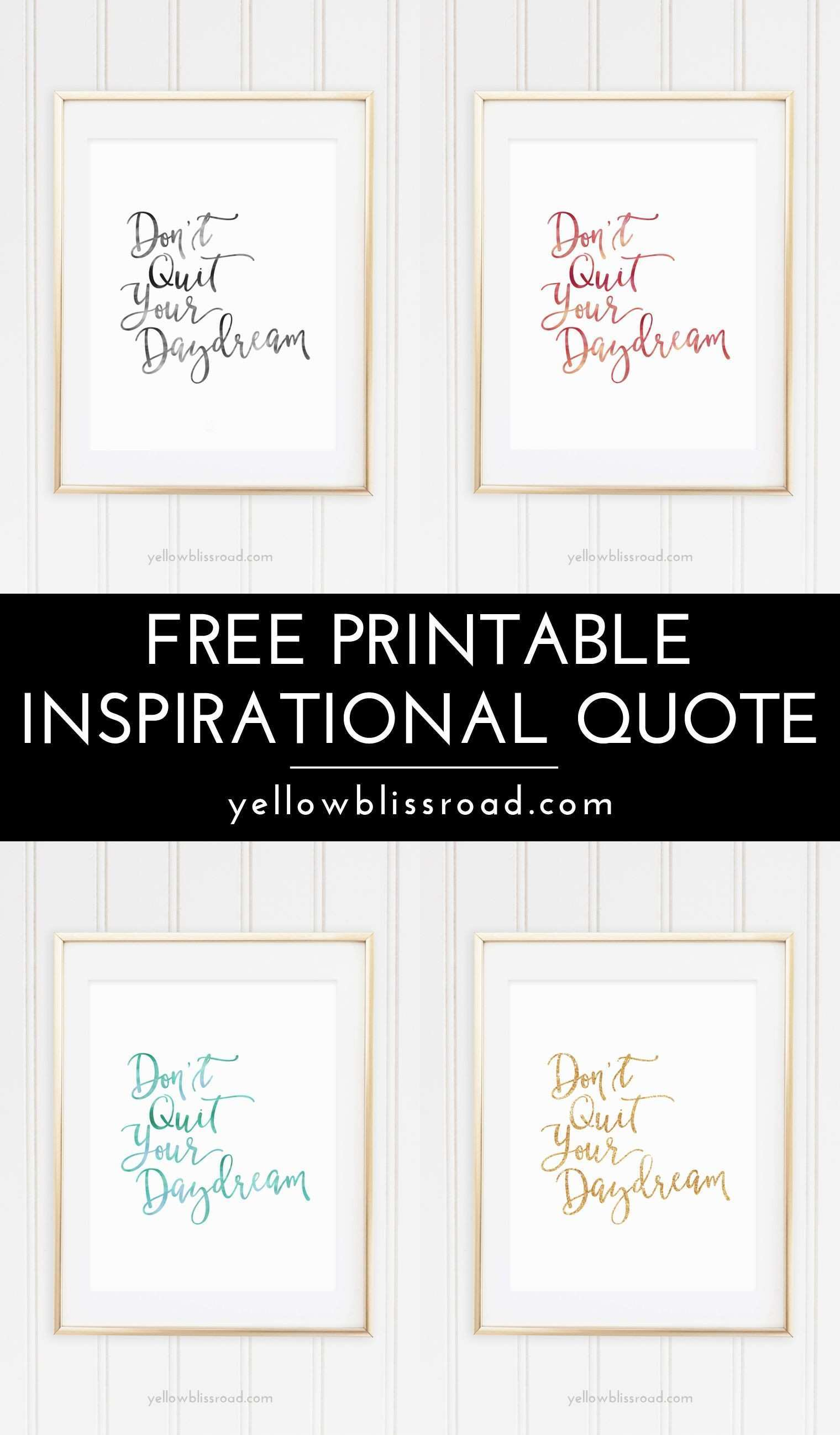 Free Inspiration Quote Printable Pinterest