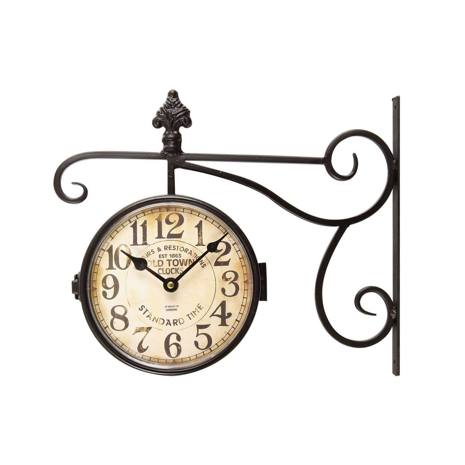 Black Iron Vintage Inspired Double Sided Wall Clock with Scroll Wall