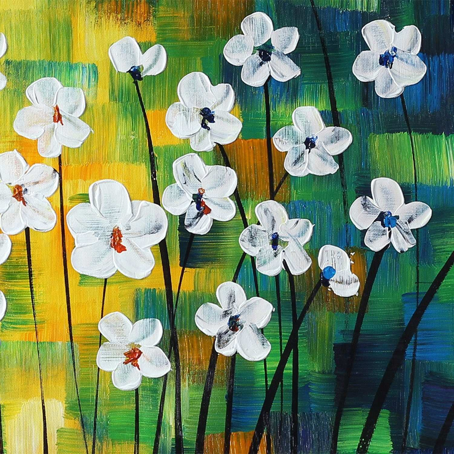 2018 Hand painted Oil Paintings Modern Abstract Spring Flowers Wall