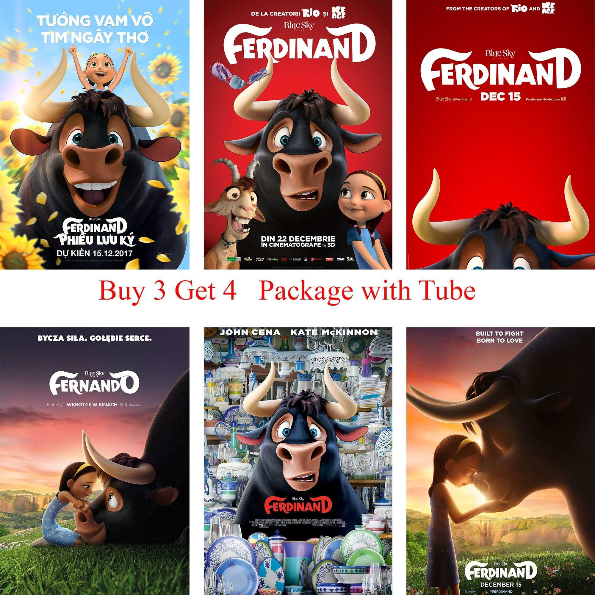 Ferdinand Posters Cartoon Wall Stickers White Coated Paper Prints